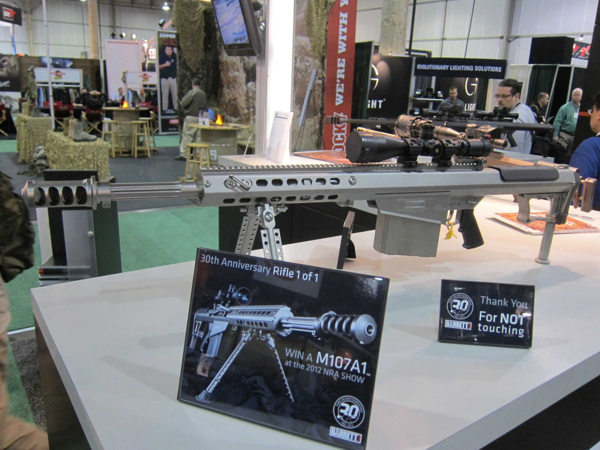 Barrett M107A1 .50 BMG Anti Materiel Rifle 30th Anniversary Nickel Teflon Coating SHOT Show 2012 DefenseReview.com DR 1 Barrett M107A1 30th Anniversary Edition Semi Auto .50 BMG Anti Materiel Rifle with Robar NP3 Nickel Teflon Coating Inside and Out! (Video!)