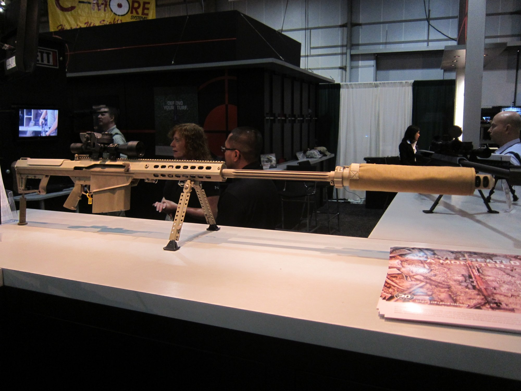 Barrett M107A1 .50 BMG Anti Materiel Rifle Suppressed Silencer Sound Suppressor SHOT Show 2012 DefenseReview.com DR 1 Barrett M107A1 30th Anniversary Edition Semi Auto .50 BMG Anti Materiel Rifle with Robar NP3 Nickel Teflon Coating Inside and Out! (Video!)