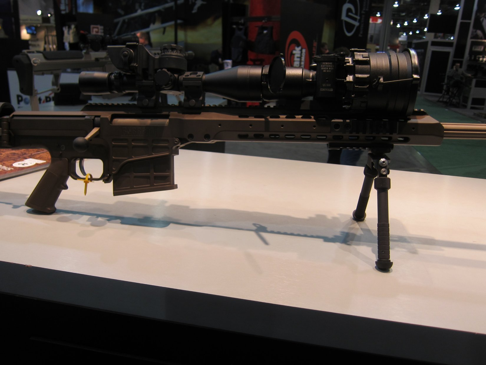 Barrett MRAD Multi Role Adaptive Design Multi Caliber .338 Lapua Magnum Rifle SHOT Show 2012 DefenseReview.com DR 2 Barrett MRAD (Multi Role Adaptive Design) Multi Caliber .338 Lapua Magnum Bolt Action Anti Materiel/Sniper Rifle and G4tv Attack of the Show Crew at SHOT Show 2012 (Video!)