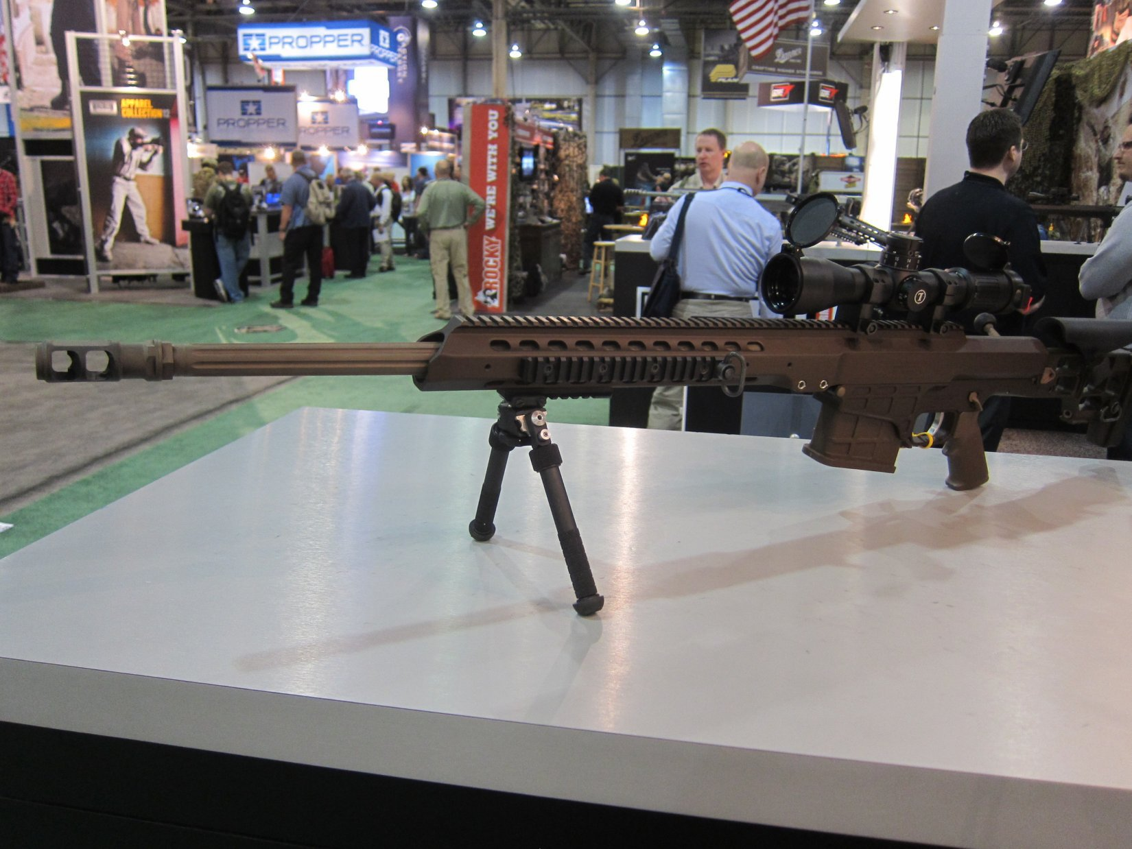Barrett MRAD Multi Role Adaptive Design Multi Caliber .338 Lapua Magnum Rifle SHOT Show 2012 DefenseReview.com DR 3 Barrett MRAD (Multi Role Adaptive Design) Multi Caliber .338 Lapua Magnum Bolt Action Anti Materiel/Sniper Rifle and G4tv Attack of the Show Crew at SHOT Show 2012 (Video!)