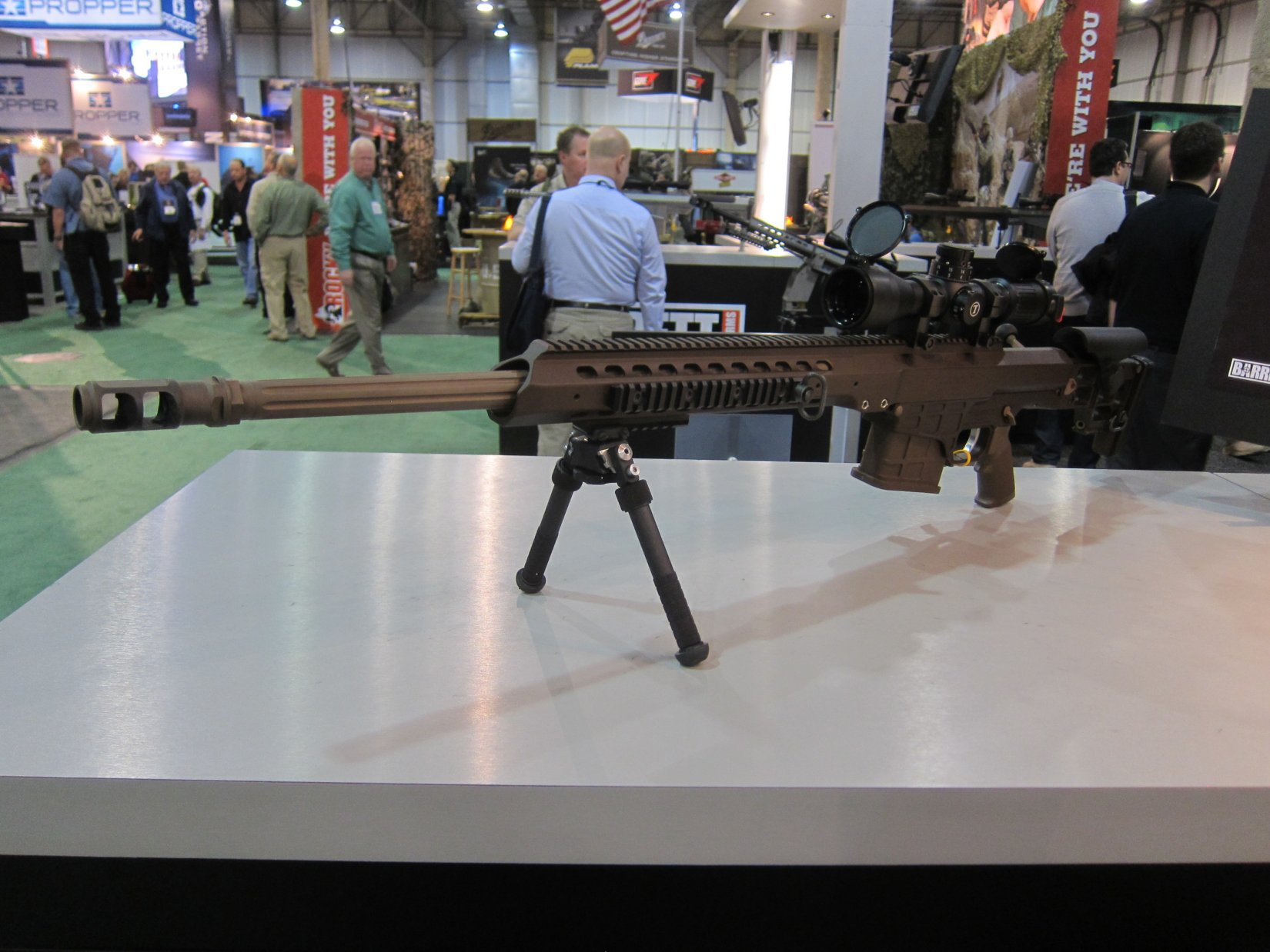 Barrett MRAD Multi Role Adaptive Design Multi Caliber .338 Lapua Magnum Rifle SHOT Show 2012 DefenseReview.com DR 4 Barrett MRAD (Multi Role Adaptive Design) Multi Caliber .338 Lapua Magnum Bolt Action Anti Materiel/Sniper Rifle and G4tv Attack of the Show Crew at SHOT Show 2012 (Video!)
