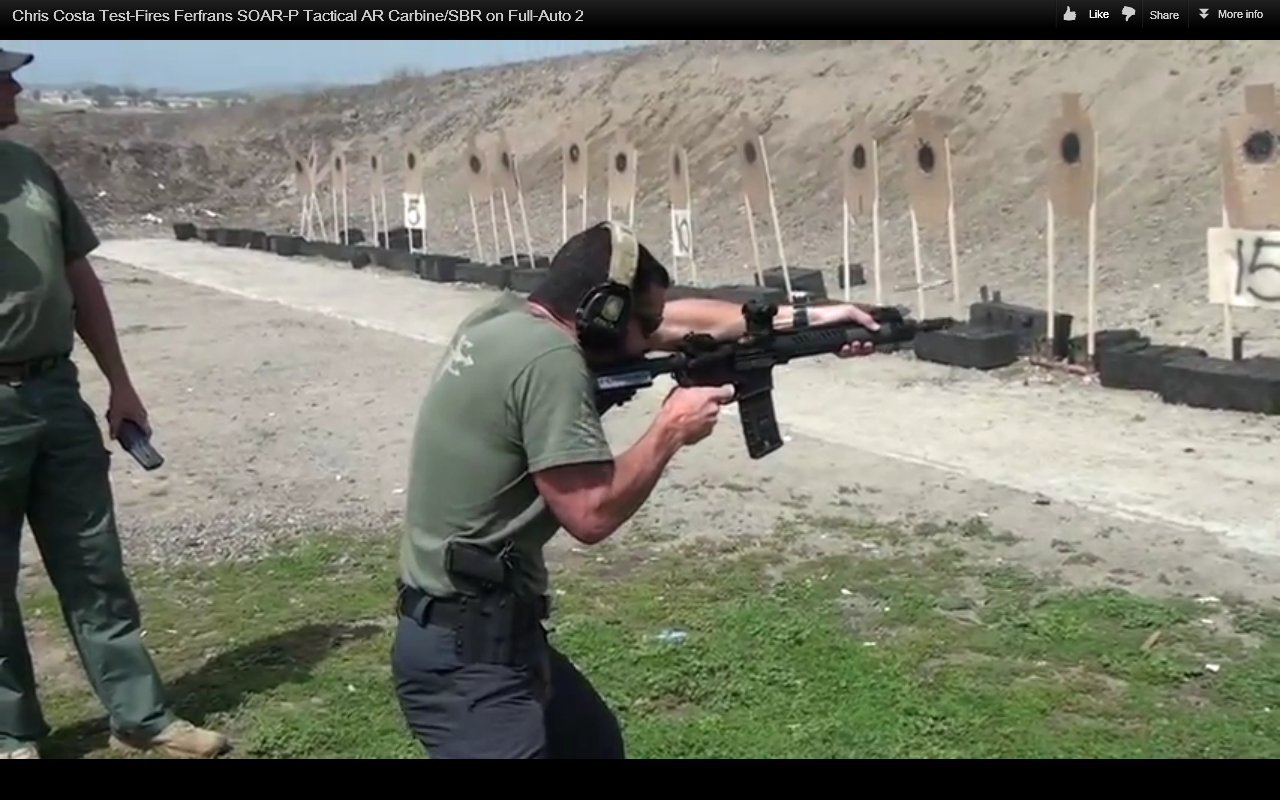 Chris Costa of Costa Ludus Shooting FERFRANS SOAR P Tactical Piston AR Carbine SBR Sub Carbine on Full Auto 1 Chris Costa of Costa Ludus Hits the Happy Switch and Goes Full Auto with the FERFRANS SOAR P Select Fire 5.56mm NATO/.223 Rem. Piston AR SBRs/Sub Carbines/Carbines (Videos!)