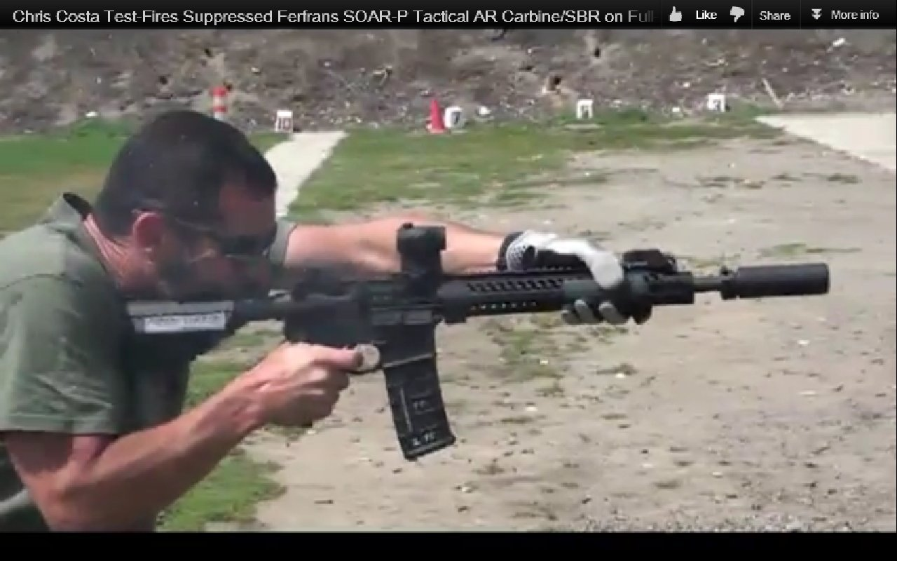 Chris Costa of Costa Ludus Shooting Suppressed FERFRANS SOAR P Tactical Piston AR Carbine SBR Sub Carbine on Full Auto 2 Chris Costa of Costa Ludus Hits the Happy Switch and Goes Full Auto with the FERFRANS SOAR P Select Fire 5.56mm NATO/.223 Rem. Piston AR SBRs/Sub Carbines/Carbines (Videos!)