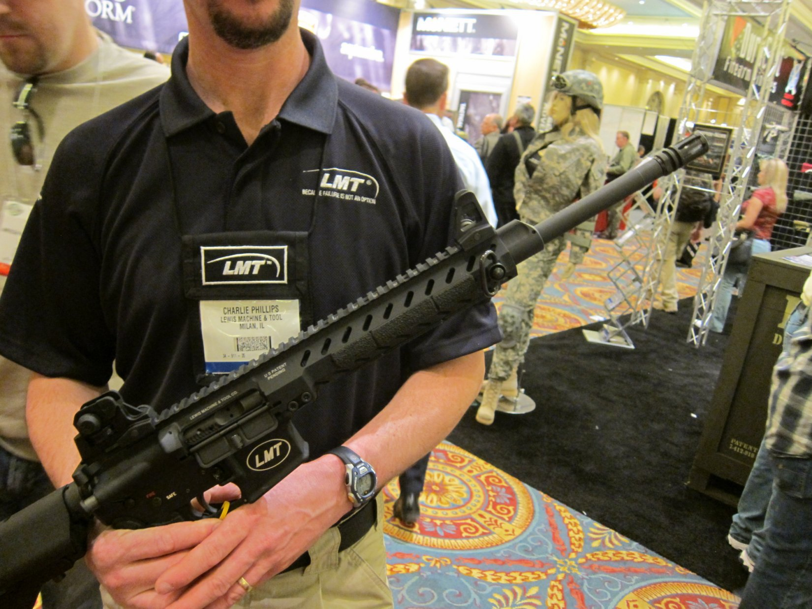 Lewis Machine  Tool LMT LM8MRP Tactical AR 15 5.56x45mm .223 Rem. Upper Receiver SHOT Show 2012 DefenseReview.com DR 1 Lewis Machine & Tool LMT LM8MRP (also written LM8 MRP) 16 Monolithic Rail Platform 5.56mm NATO/.223 Rem. Tactical AR 15 Carbine Upper Receiver(s) with Lightweight Modular Monolithic Rail System