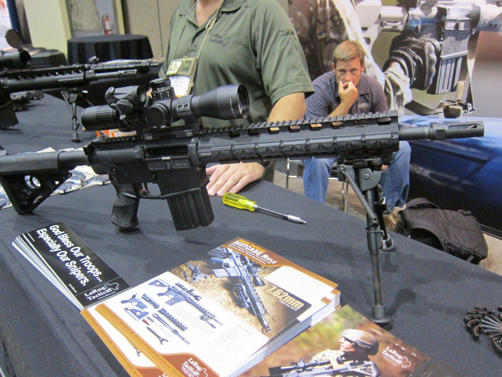 "LaRue Tactical Suitcase Rifle (""Suitcase Gun"") 14.5"" 7.62mm NATO/.308 Win. Takedown PredatOBR AR Carbine at NDIA Joint Armaments 2012 (Range Video!)"