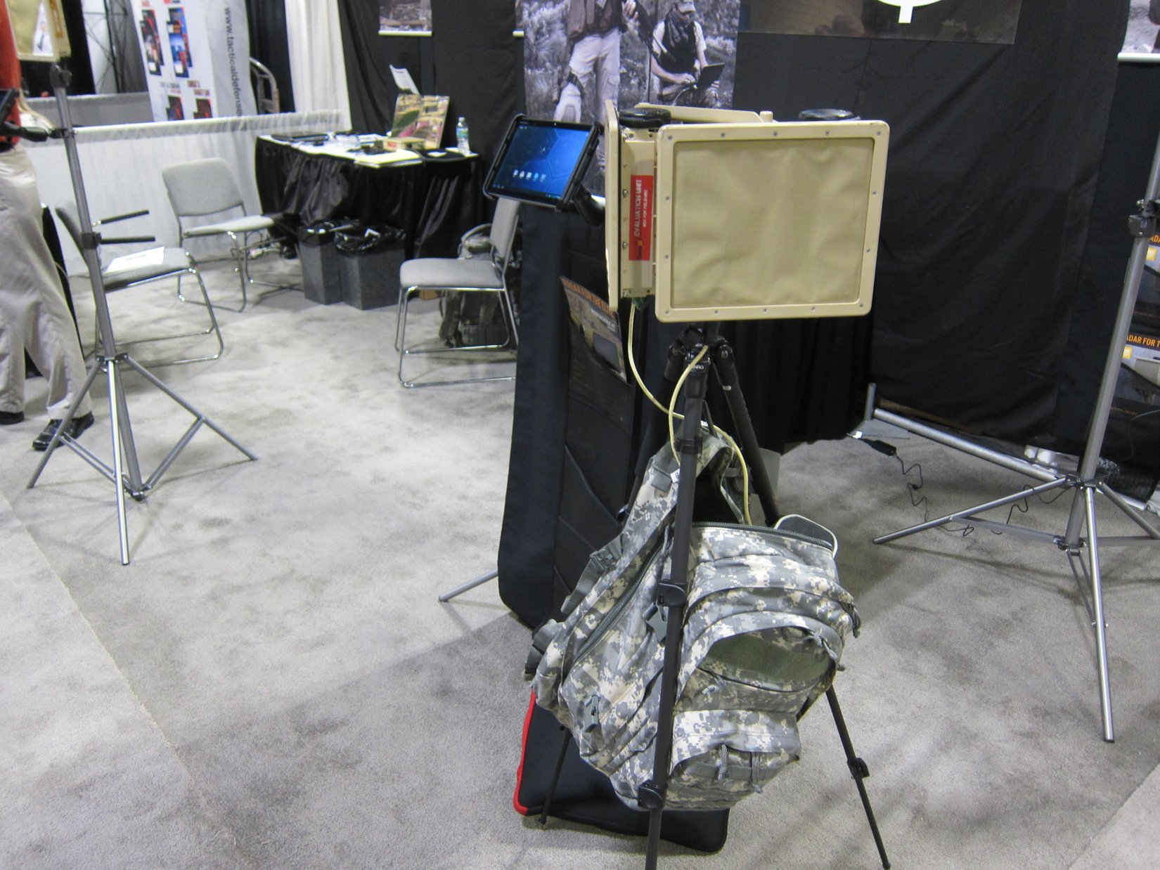 "SpotterRF Radar Backpack Kit (or ""Backpack Radar Kit""): Compact, Lightweight Backpackable/Manpackable Ground Moving Target Indicator (GMTI) Motion-Tracking Perimeter Surveillance Radar (PSR) System for Military Special Operations Forces (SOF) Perimeter Security and Force Protection Applications (SOFIC 2012 Demo Video!)"