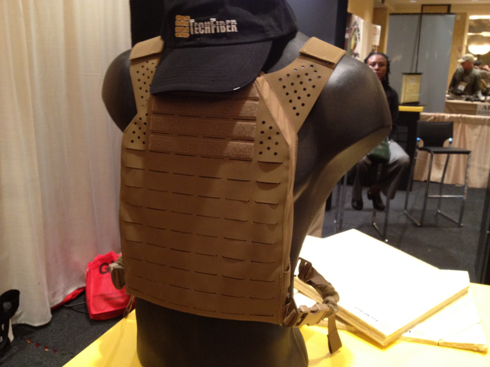 TechFiber T Flex SH Unidirectional Aramid Fiber Ballistic Fabric with Twaron ArmorWorks Modular Plate Carrier MPC SHOT Show 2012 DefenseReview.com DR 1 TechFiber T Flex SH/SA Unidirectional Ballistic Fabric with Teijin Aramid Twaron or DuPont Kevlar Aramid Fiber for Tactical Armor Carriers/Body Armor (Soft Armor Panels and Hard Armor Plates) and Vehicle Armor (Video!)