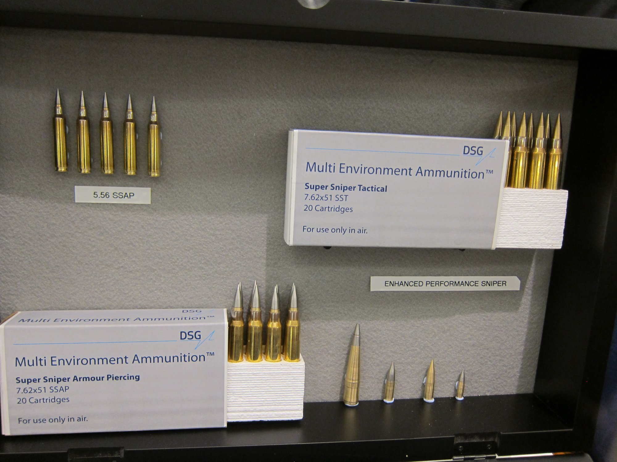 DSG Technology PNW Arms Super Sniper Ammunition SSA formerly Enhanced Performance Sniper EPR Super Sniper Tactical SST and Super Sniper Armor Piercing SSAP Rounds NDIA Joint Armaments 2012 DefenseReview.com DR 3 DSG Technology/PNW Arms Super Sniper Ammunition (SSA) Enhanced Range Rifle Ammo Being Made in the USA for Military Special Operations Forces (SOF) Long Range Interdiction/Sniping and Close Quarters Battle/Close Quarters Combat (CQB/CQC) Applications: Solid Copper Super Sniper Tactical (SST) Rounds/Bullets and Tungsten Tipped Super Sniper Armor Piercing/Armor Penatrating (SSAP) AP Rounds/Bullets in All Military NATO Calibers! (Video!)