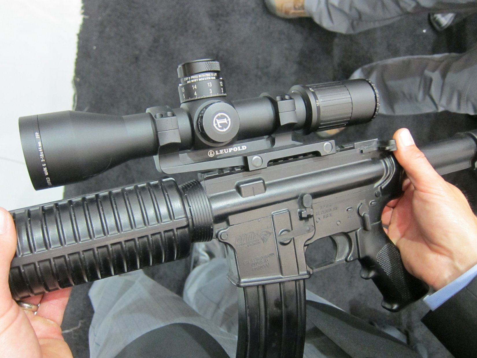 Leupold Mark 6 3 18x44mm 34mm Riflescope First Focal Plane Tactical Scope with Horus H59 Improved Sniper Reticle NDIA Joint Armaments Conference 2012 DefenseReview.com DR 1 Leupold Mark 6 3 18x44mm (34mm) Riflescope: Game Changer First Focal Plane Tactical Rifle Scope/Hunting Scope with Horus H58 Illuminated Gridded Reticle (or TReMoR2 or CMR W Reticles) for U.S. Military Special Operations Forces (SOF) Assaulters/Snipers, Civilian Tactical Shooters and Hunters! (Videos!)
