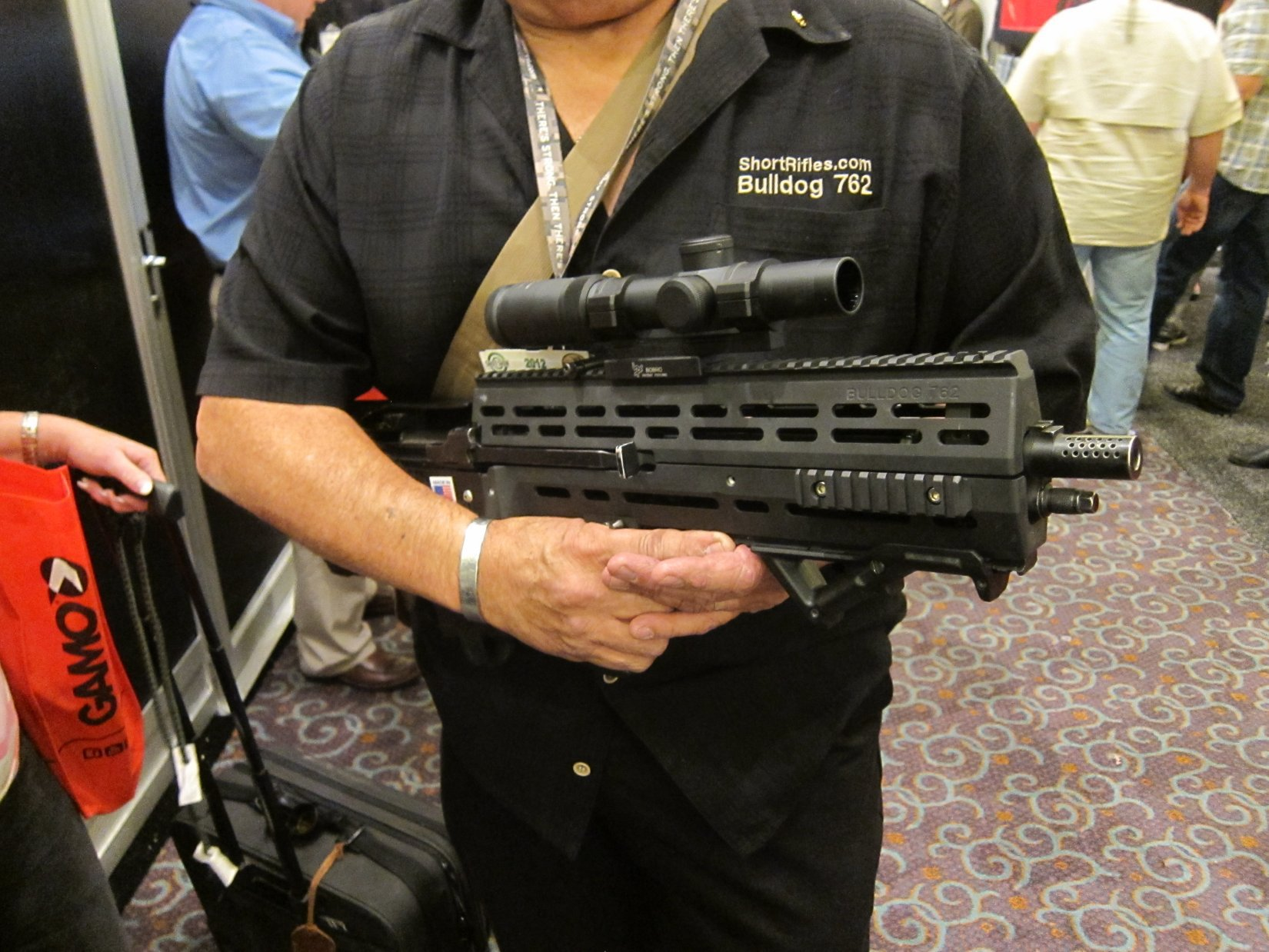 Short Rifle Stock System SRSS BullDog762 Gen 4 Bullpup M14 M1A Battle Rifle Carbine with GRSC CRS 16 M4 62 Tactical Scope SHOT Show 2012 DefenseReview.com DR 1 Short Rifle Stock System SRSS BullDog 762 Gen 4 (also written SRSS BullDog762 Gen 4) 16 Bullpup M14/M1A Battle Rifle/Carbine (7.62mm NATO/.308 Win.) with GRSC CRS 16 M4 62 Tactical Scope for 21st Century Military Special Operations Forces (SOF) Assaulters/Operators and Civilian Tactical Shooters! (Photos!)