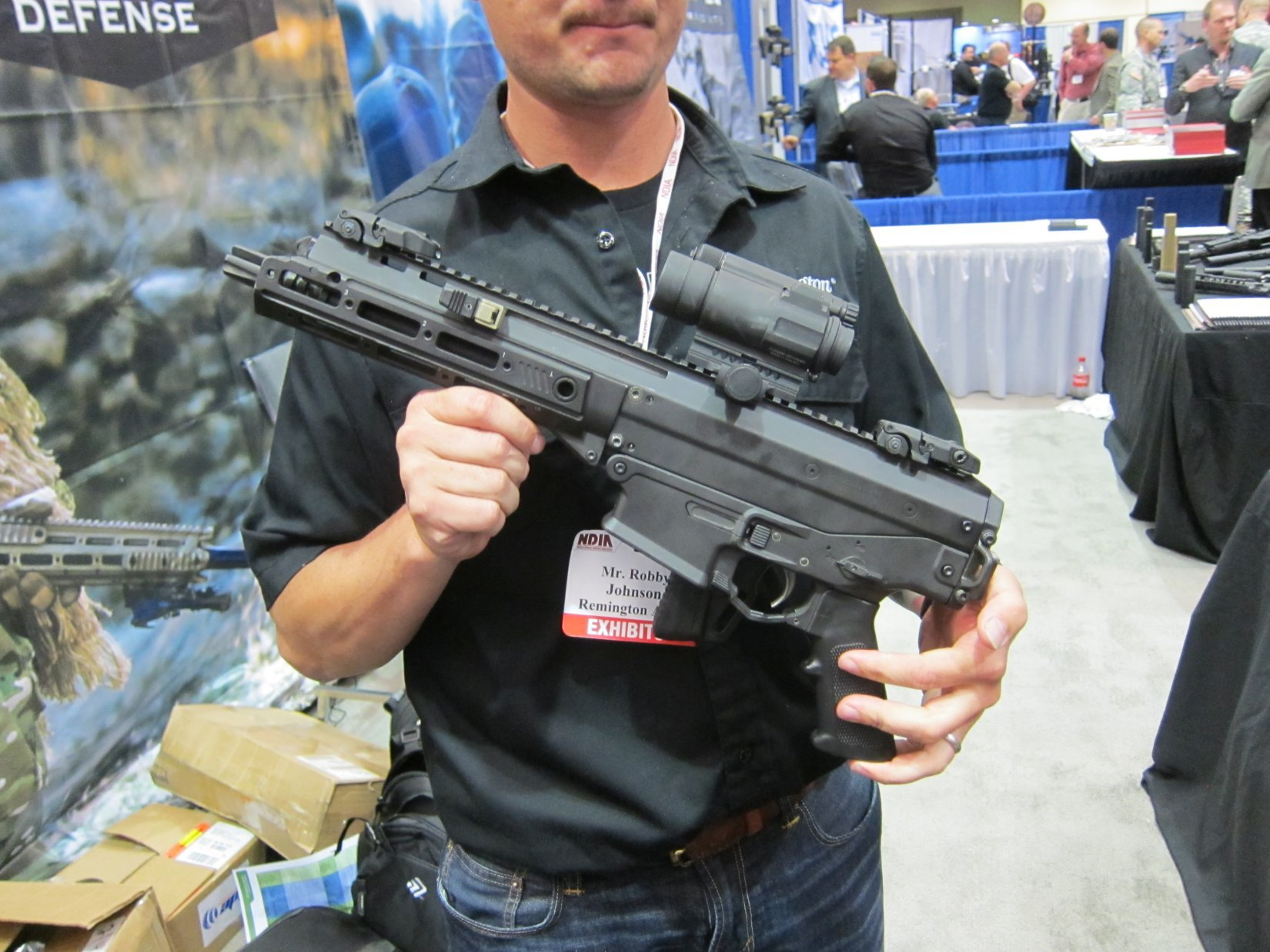Remington ACR PDW SBR Adaptive Combat Rifle Personal Defense Weapon Short Barreled Rifle Robby Johnson NDIA Joint Armaments 2012 DefenseReview.com DR 4 Remington ACR PDW SBR (Adaptive Combat Rifle Personal Defense Weapon Short Barreled Rifle) and Remington Individual Carbine (IC) Candidate: Remington Defense Assault Rifles/Carbines/PDWs at NDIA Joint Armaments Conference 2012 (Video!)