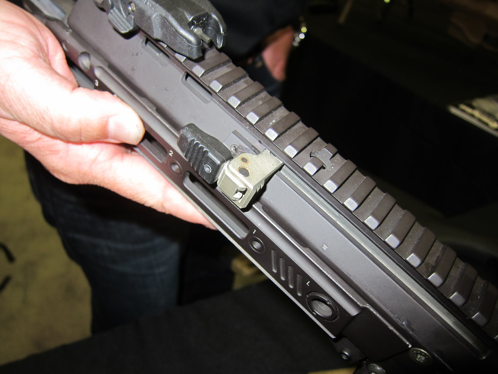 Remington ACR PDW SBR Adaptive Combat Rifle Personal Defense Weapon Short Barreled Rifle Robby Johnson NDIA Joint Armaments 2012 DefenseReview.com DR 5 Remington ACR PDW SBR (Adaptive Combat Rifle Personal Defense Weapon Short Barreled Rifle) and Remington Individual Carbine (IC) Candidate: Remington Defense Assault Rifles/Carbines/PDWs at NDIA Joint Armaments Conference 2012 (Video!)