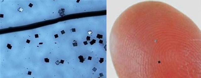 Hitachi Powder Dust Micro RFID Chip 3 Hitachi Powder/Dust µ Chip Ultra Small Micro RFID Chip with Embedded Antenna for Military and (Clandestine) Intelligence/Surveillance Applications: U.S. Military, Law Enforcement and Intelligence Agencies Licking their Chops?