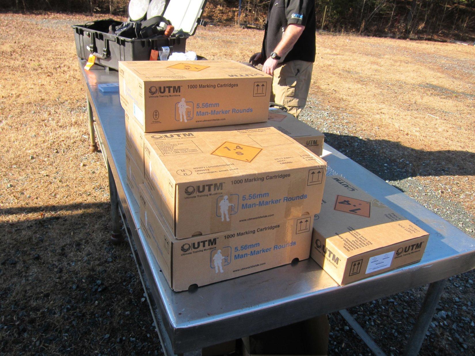 UTM Ammo Ultimate Training Munitions Ammunition Phoenix RBT Solutions Force On Force Training Ammo DefenseReview.com DR 2012 4 Ultimate Training Munitions (UTM) 5.56mm Man Marker Round (MMR) Force On Force Training Ammunition/Marking Cartridges in SureFire MAG5 60 HCM 60 Shot Quad Stack AR 15/M16 Rifle Magazine: Gunfighting Training Made Awesome!