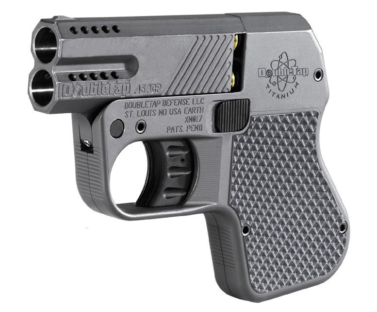 DoubleTap Titanium Pocket Pistol .45 ACP 9mm Parabellum 2 Shot Derringer Pistol 1 DoubleTap Titanium Tactical Pocket Pistol: Ultra Compact 2 Shot .45 ACP/9mm Parabellum Blaster Goes Tropical and State of the Art...but its still a Derringer