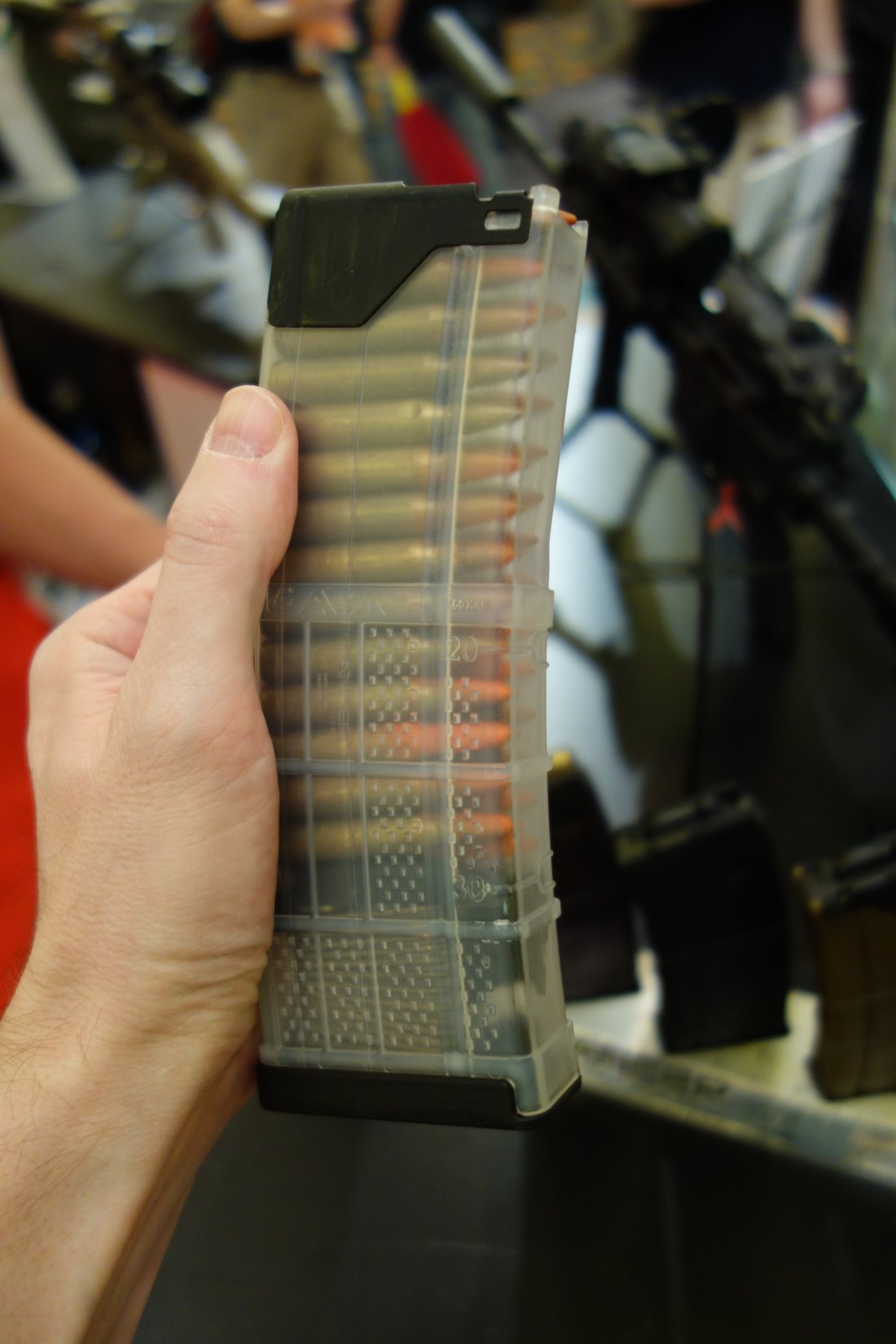 Lancer Systems Gen 2 L5 Translucent Advanced Warfighter Magazine AWM Polymer 30 Round 5.56mm AR 15 Rifle Mag SHOT Show 2013 David Crane DefenseReview.com DR 5 Gen 2 Lancer Systems L5 Translucent Advanced Warfighter Magazine (AWM): Truly Translucent Polymer 30 Round AR 15 Rifle/Carbine/SBR Mag!