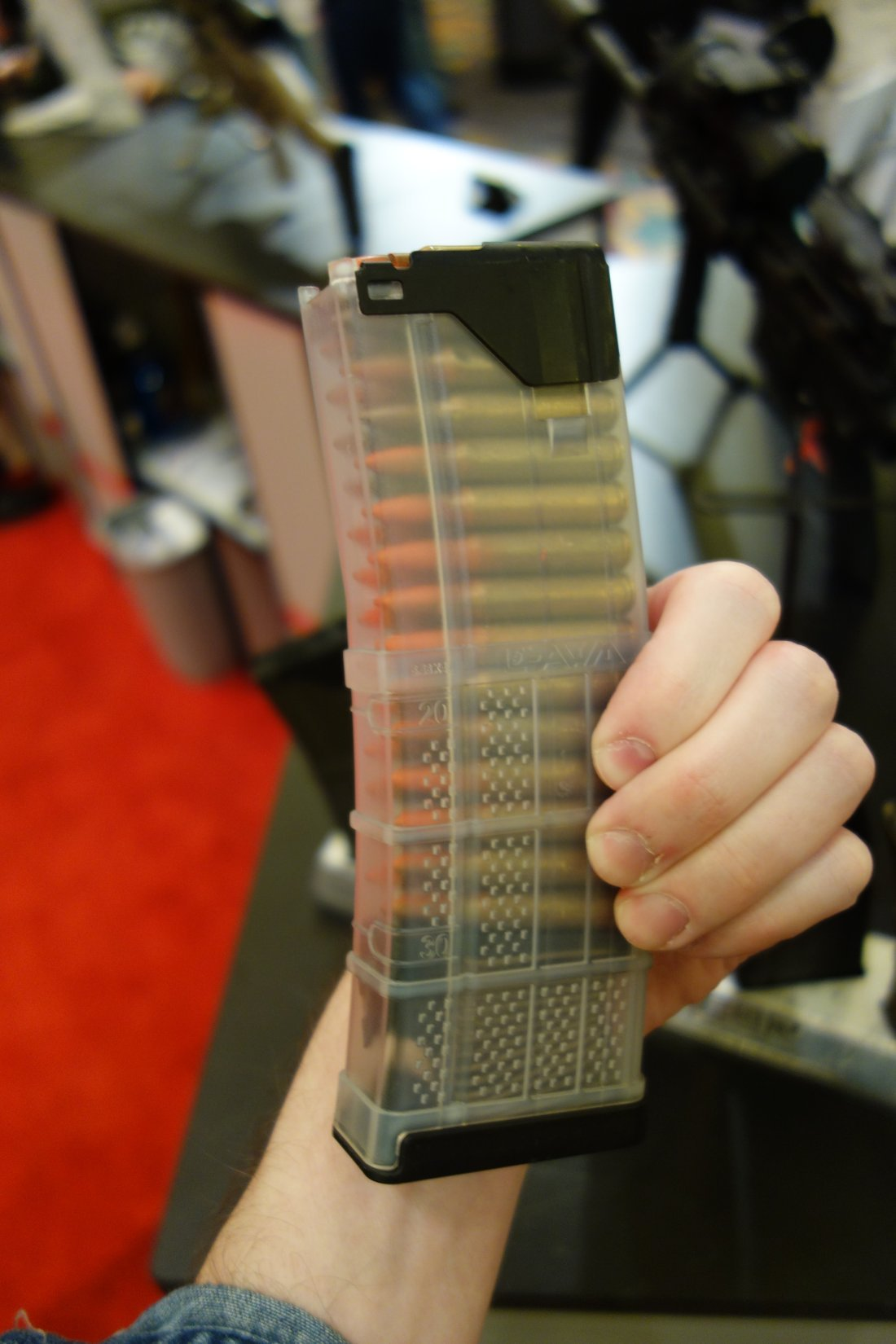 Lancer Systems Gen 2 L5 Translucent Advanced Warfighter Magazine AWM Polymer 30 Round 5.56mm AR 15 Rifle Mag SHOT Show 2013 David Crane DefenseReview.com DR 6 Gen 2 Lancer Systems L5 Translucent Advanced Warfighter Magazine (AWM): Truly Translucent Polymer 30 Round AR 15 Rifle/Carbine/SBR Mag!