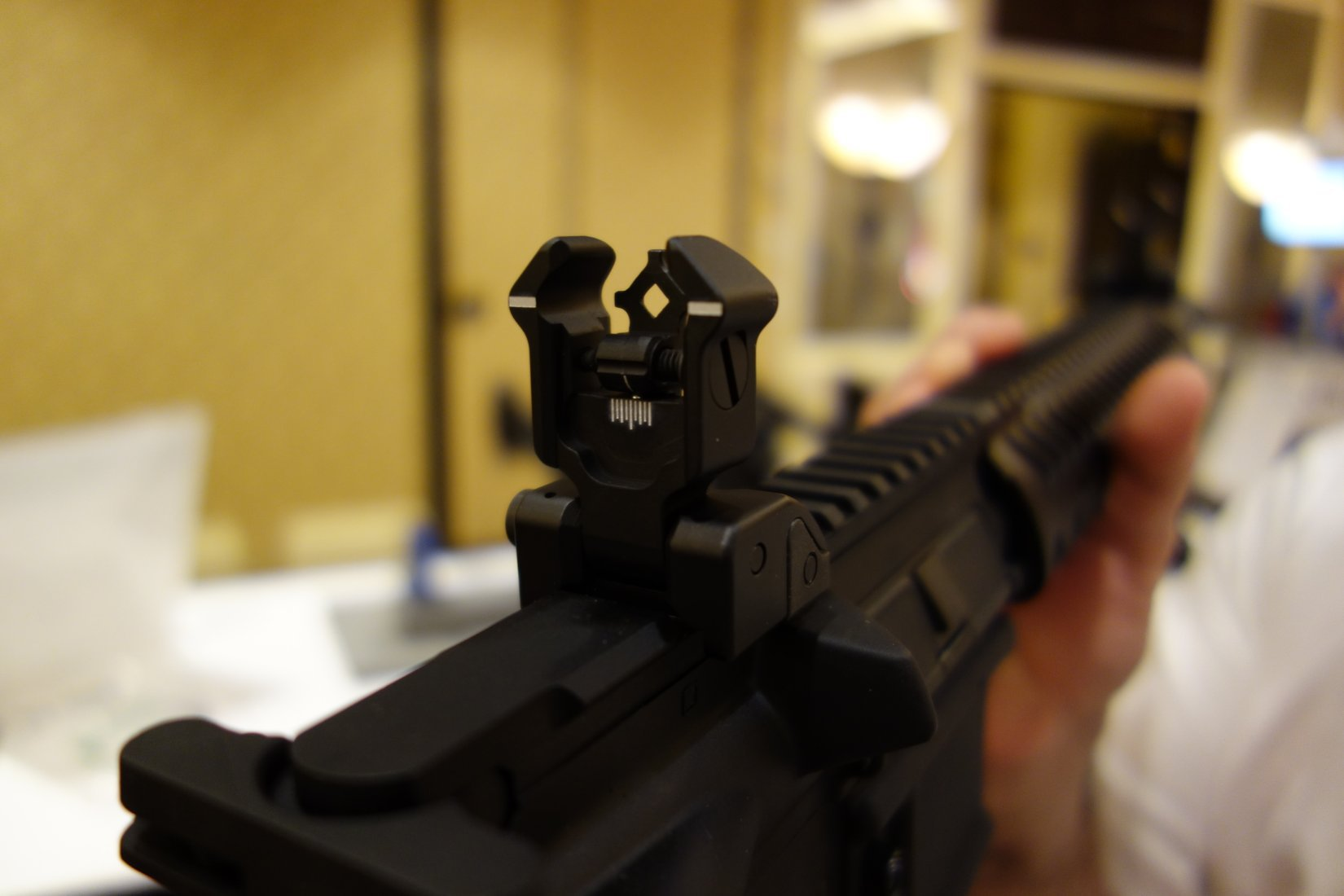 Diamondhead USA Diamond Generation 2 Gen 2 Flip Up Front and Rear Sights BUIS Back Up Iron Sights for Tactical AR 15 Rifle Carbine SBR Sub Carbines SHOT Show 2013 David Crane DefenseReview.com DR 5 Diamondhead Diamond Generation 2 (Gen 2) Flip Up Front/Rear Sight BUIS System for AR 15 Rifle/Carbine/SBRs: Instantly Switch from CQB/CQC to Medium Range Combat Shooting Engagements! (Video!)