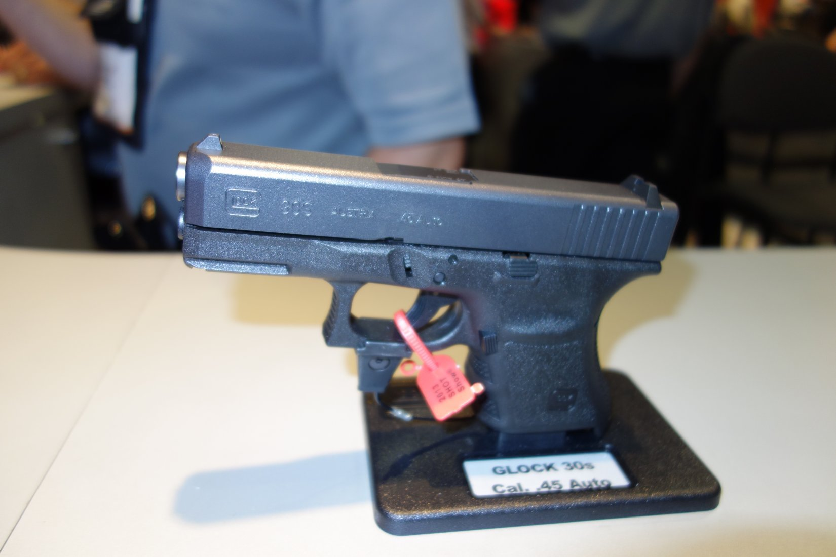 Glock 30S Compact .45 ACP Pistol SHOT Show 2013 David Crane DefenseReview.com DR 1 Glock 30S (G30S) Compact .45 ACP Semi Auto High Capacity Combat/Tactical Pistol for Concealed Carry (CCW) Applications and Undercover Operations: Glock 36 Slide Meets Glock 30SF Frame! (Video!)