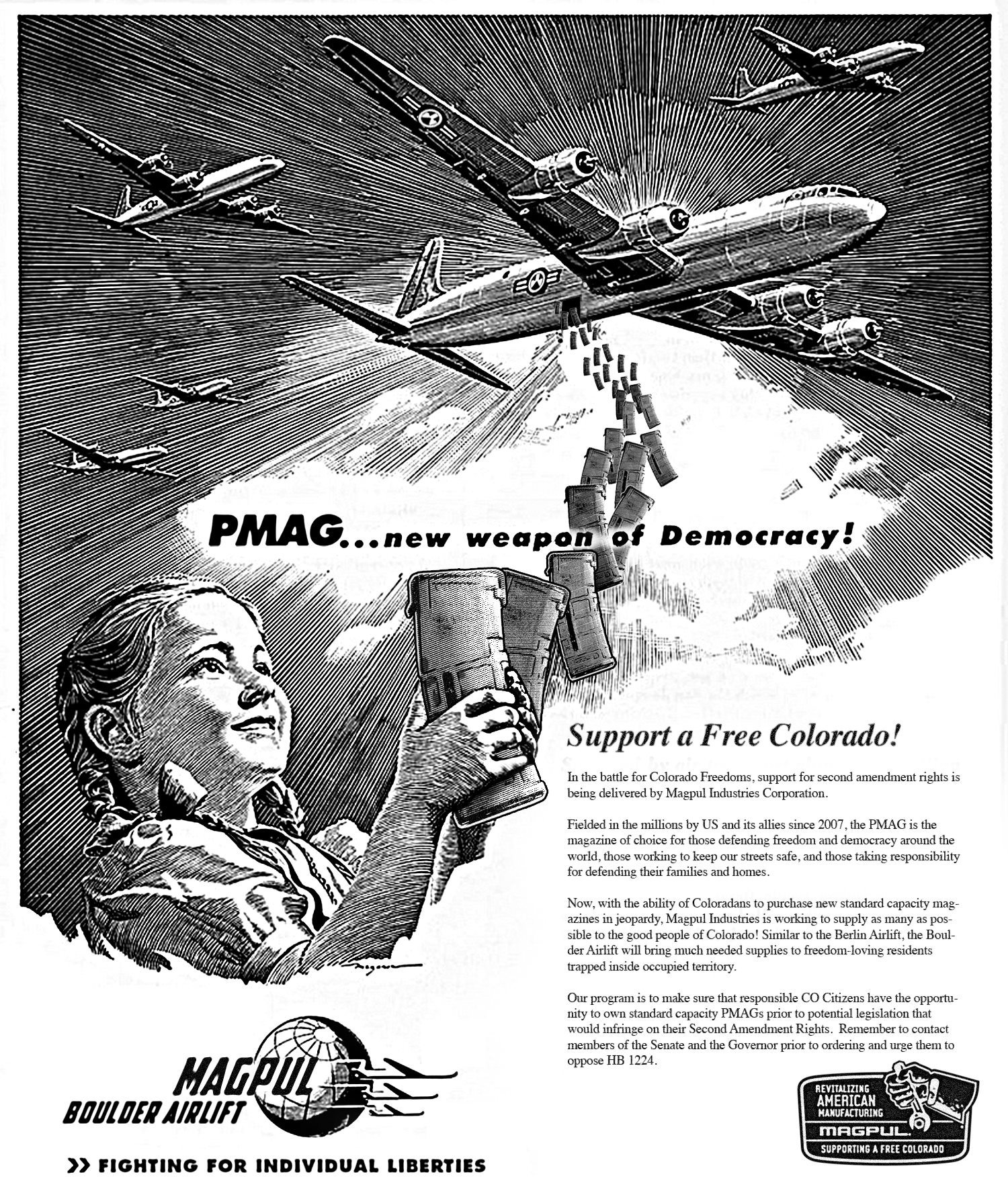 MagPul Airlift Ad Poster PMAG Polymer 30 Round Magazine 1 MagPul PMAGs Falling from the Sky: MagPul Boulder Airlift Operation Delivering Freedom (through PMAG 30 Round Magazines) to Coloradans!