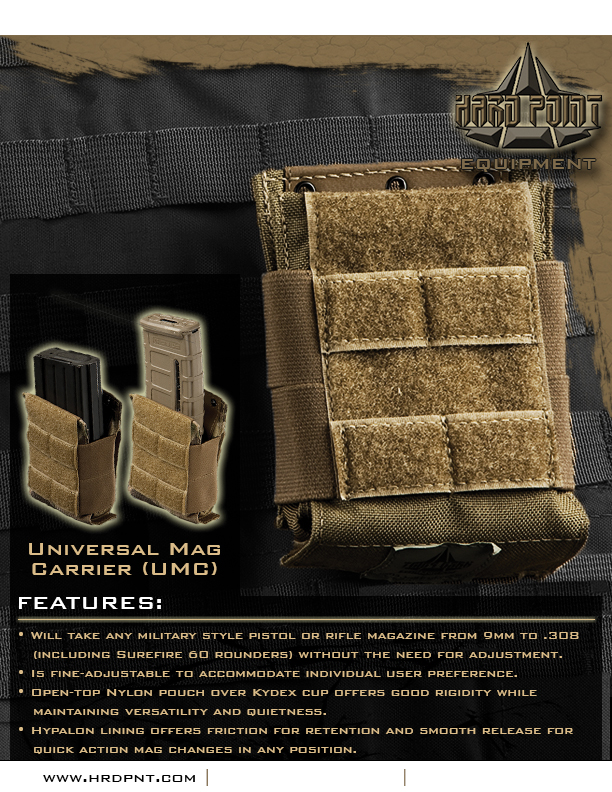 Hard Point Equipment Universal Mag Carrier UMC Flyer 1 Tired of Tacos? Load Your Tactical Vest (Armor Plate Carrier) with the Hard Point Universal Mag Carrier (UMC): One Modular Magazine Pouch Handles 5.56mm and 7.62mm Rifle Magazines and Pistol Mags