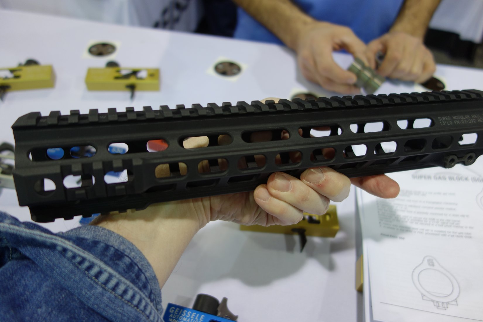 Geissele Automatics Super Modular Rail MK4 SMR 13 inch Tactical Handguard Lightweight Modular Rail System with KeyMod Universal Interface System SHOT Show 2013 David Crane DefenseReview.com DR 1 Geissele Super Modular Rail MK4 (SMR) 13/9.5 Tactical Handguard/Lightweight Rail System with Proprietary Barrel Nut Mounting System and Nitrided Lo Pro Super Gas Block for the Tactical AR 15 Carbine (Video!)