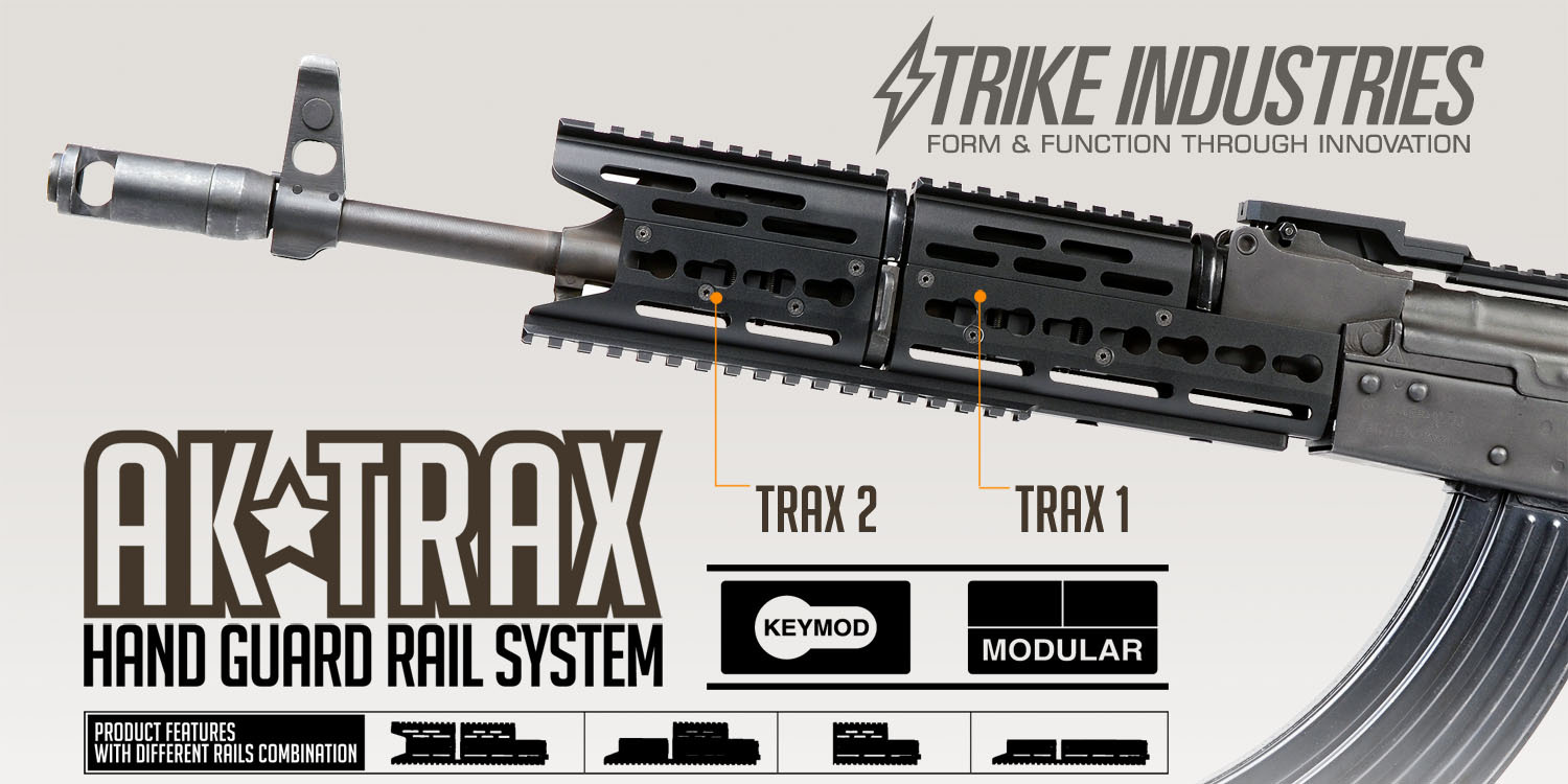 Strike Industries AK TRAX-1/TRAX-2 KeyMod Modular Rail System/Tactical Handguard for Kalashnikov AKM Rifle/Carbine!