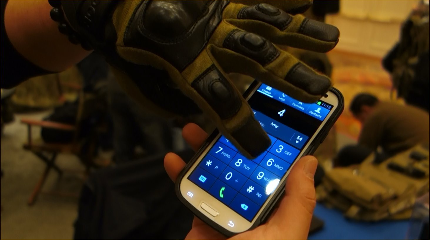 Condor Outdoor Syncro Tactical Glove Tactical Shooting Gloves with HK251 Touchtec Nanotechnology Leather Andy Chen SHOT Show 2013 David Crane DefenseReview.com DR 5 Condor Syncro Hard Knuckle Tactical Glove with TouchTec Nanotechnology: Touchscreen Friendly Tactical Shooting Gloves Allow You to Operate Smartphone and Tablet Computer! (Video!)