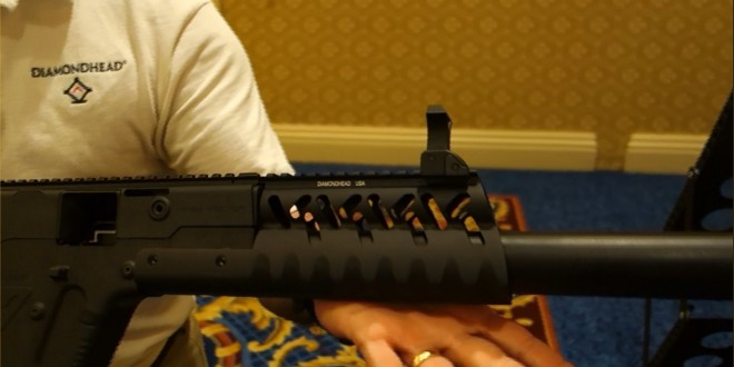 Diamondhead V-RS Drop-In/Slide-On Lightweight Modular Tactical Handguard/Rail System with Diamondhead Integrated Sighting System for Civilian-Legal, Semi-Auto-Only KRISS Vector CRB .45 ACP Carbine (Video!)