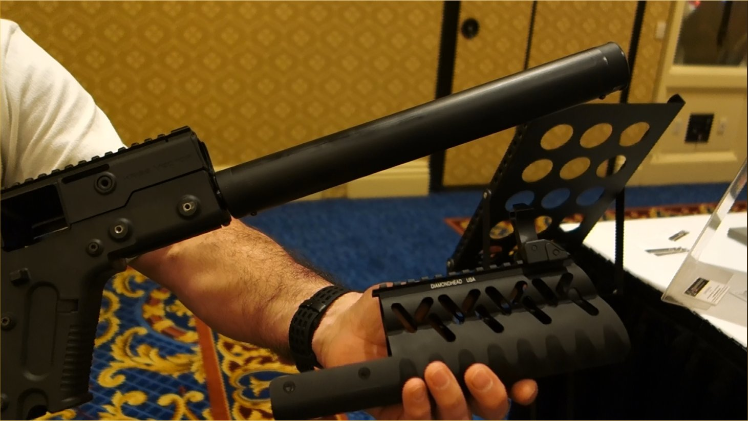 Diamondhead V RS Drop In Slide On Lightweight Tactical Handguard Rail System with Diamondhead Integrated Sighting System for KRISS Vector CRB .45 ACP Tactical Carbine John DeLuca SHOT Show 2013 David Crane DefenseReview.com DR 8 Diamondhead V RS Drop In/Slide On Lightweight Modular Tactical Handguard/Rail System with Diamondhead Integrated Sighting System for Civilian Legal, Semi Auto Only KRISS Vector CRB .45 ACP Carbine (Video!)