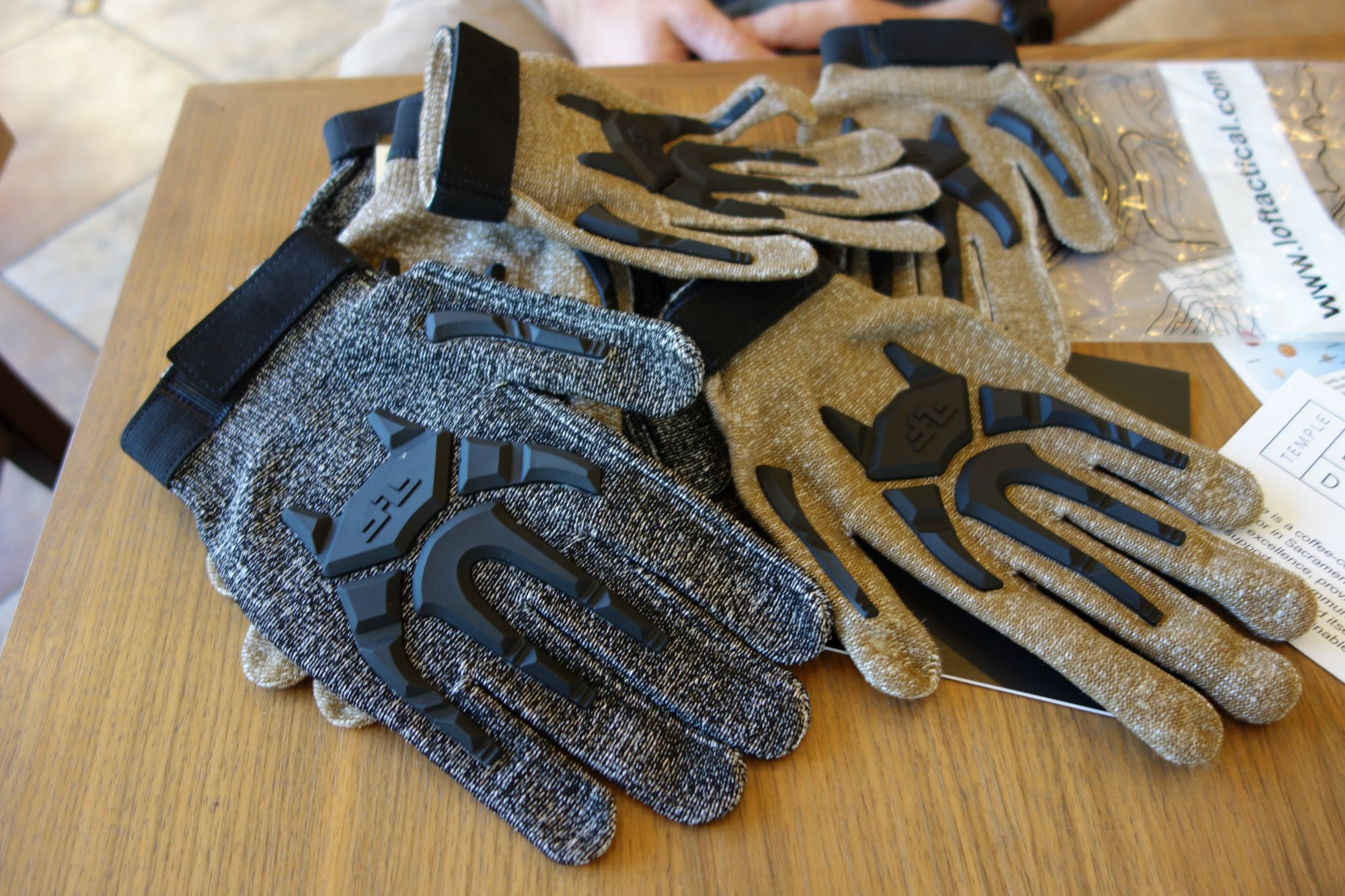 Line of Fire LOF Phantom Dyneema Cut Resistant Tactical Glove with Hard Knuckles and Silicone Print Gripping Material Tactical Gloves Combat Gloves Brian Miller Temple Coffee 8 16 13 David Crane DefenseReview.com DR 6 Line of Fire LOF Phantom Combat/Tactical Glove: Seamless Dyneema Cut Resistant Combat/Tactical Shooting Gloves with Hard Knuckles and Fingers and Silicone Gripping Material (Video!)