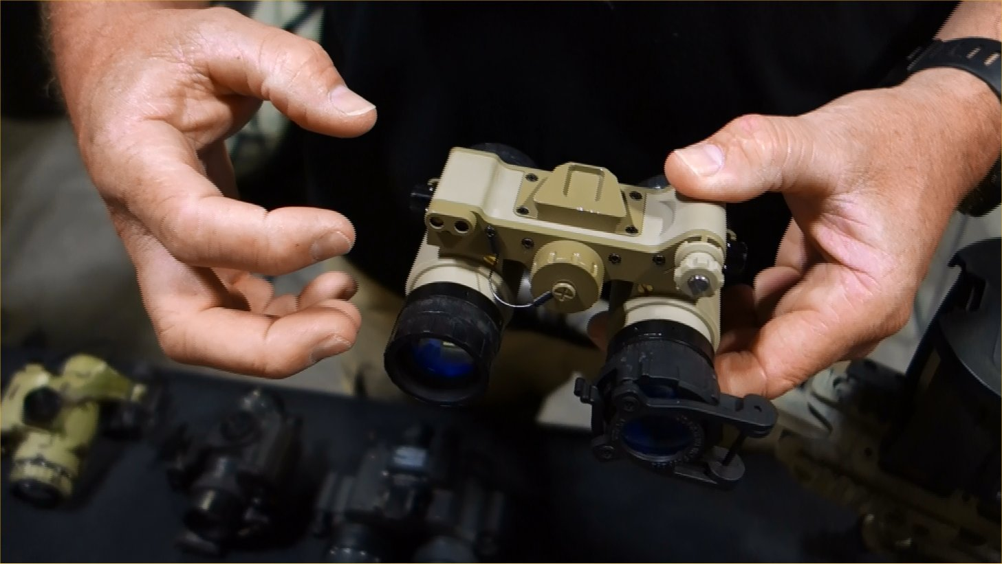 Tactical Night Vision Company TNVC Sentinel Ruggedized Night Vision Goggle NVG Retrofitted and Ruggedized AN AVS 6 AN AVS 9 NVG Kyle Harth NDIA SOFIC 2013 David Crane DefenseReview.com DR 3 Adams Industries (AI)/Tactical Night Vision Company TNVC Sentinel Night Vision Goggle (NVG)/Imaging System: Up Armored AN/AVS 6/9 (ANVIS 6/9) NVG for Military Special Operations Forces (SOF) (Video!)