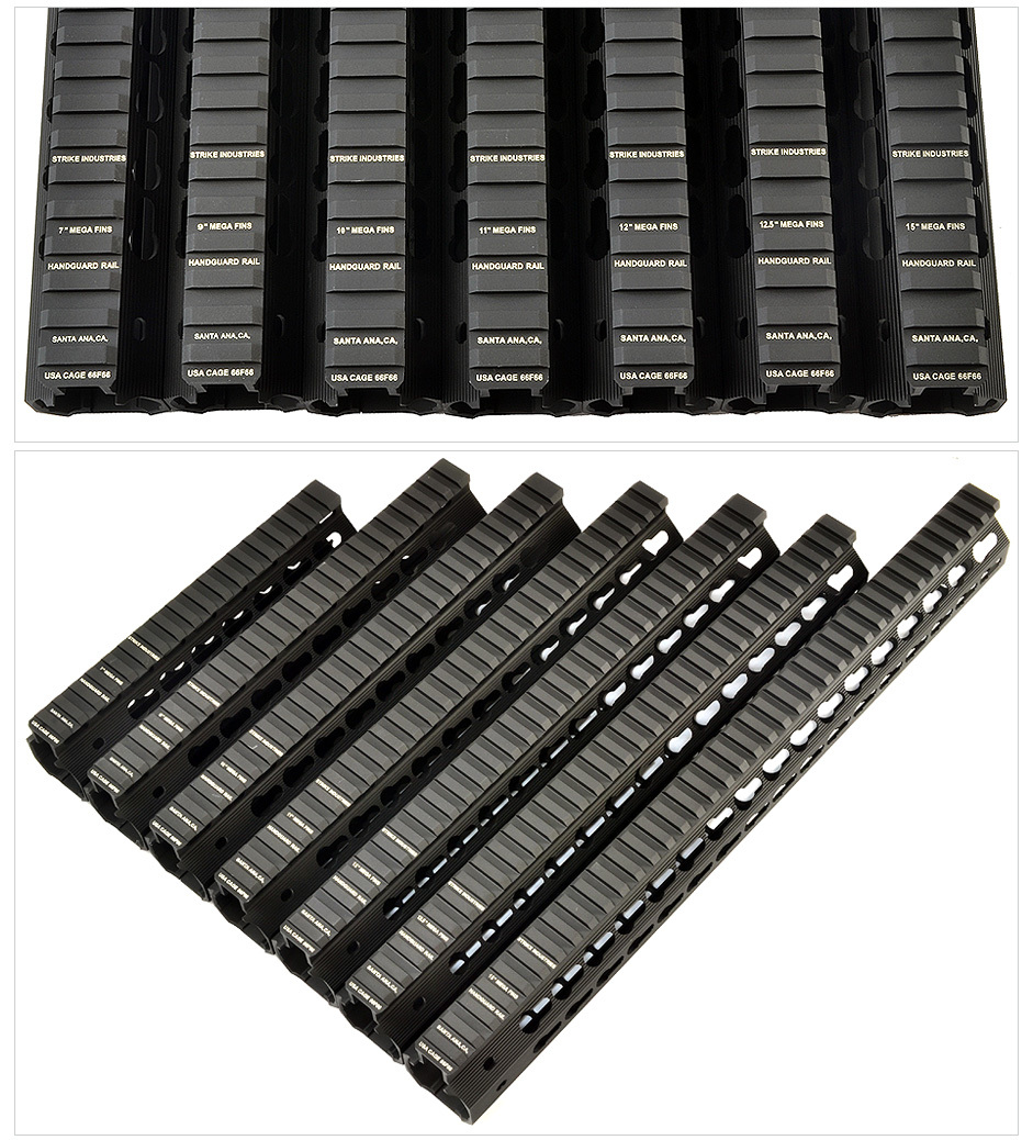 Strike Industries Mega Fins Tactical Handguard Rail  System and KeyMod Rail Section image 1a Strike Industries AR Mega Fins KeyMod Tactical Handguard/Rail System with Rail Accessories for Tactical AR 15 Carbine/Rifles!