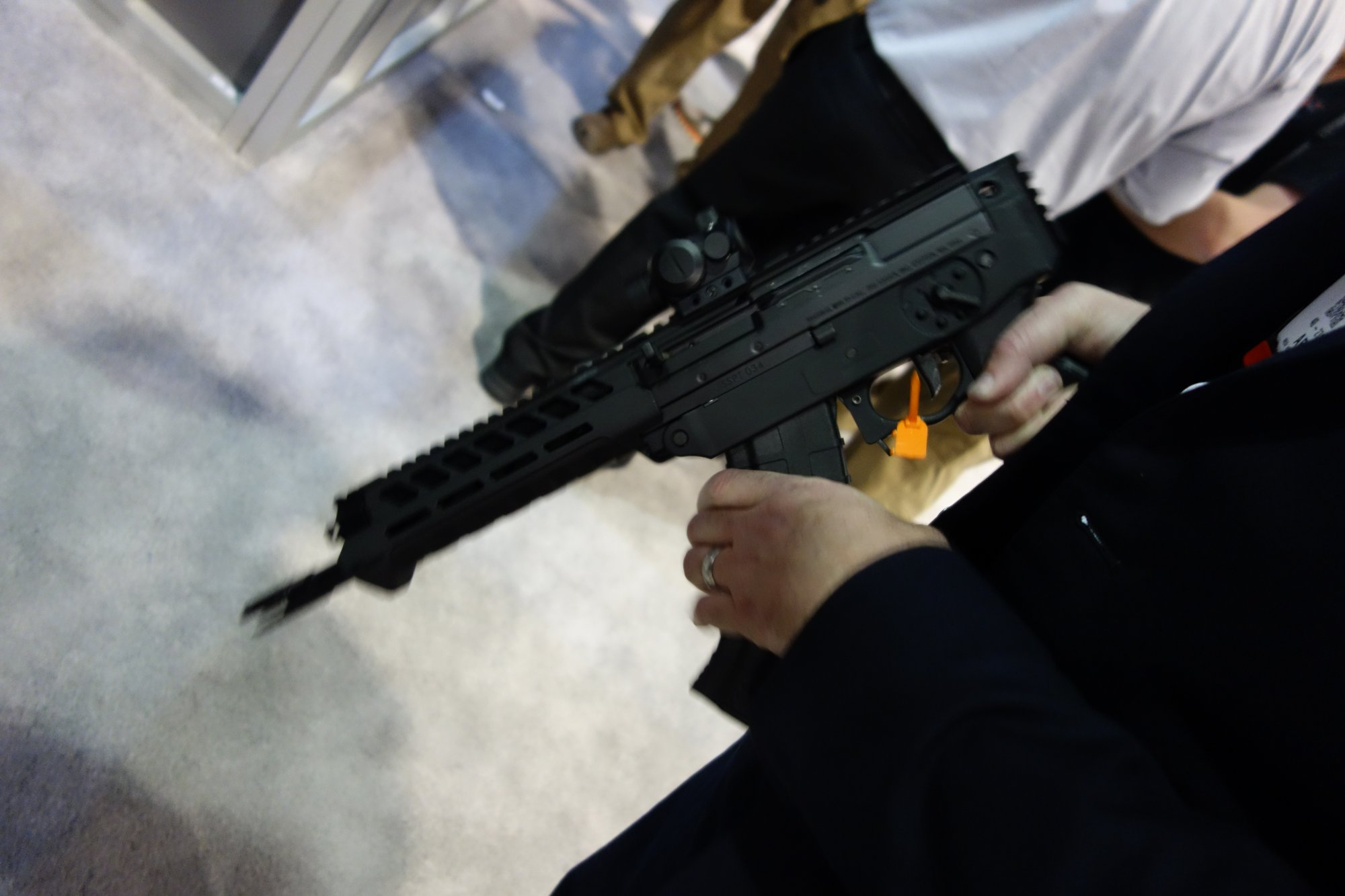 SIG SAUER SIG556xi 7.62x39mm Russian Configuration Semi Auto Only Modular Multi Caliber Combat Tactical Carbine Kalashnikov AK 47 AKM SHOT Show 2014 1 15 14 David Crane DefenseReview.com DR 2 rotated SIG SAUER SIG556xi Modular, Multi Caliber (5.56mm NATO, 300 AAC Blackout/300BLK, 7.62x39mm Russian) Gas Piston/Op Rod Combat/Tactical Rifle/Carbine/SBR with Kalashnikov AK 47/AKM Configuration Capability!