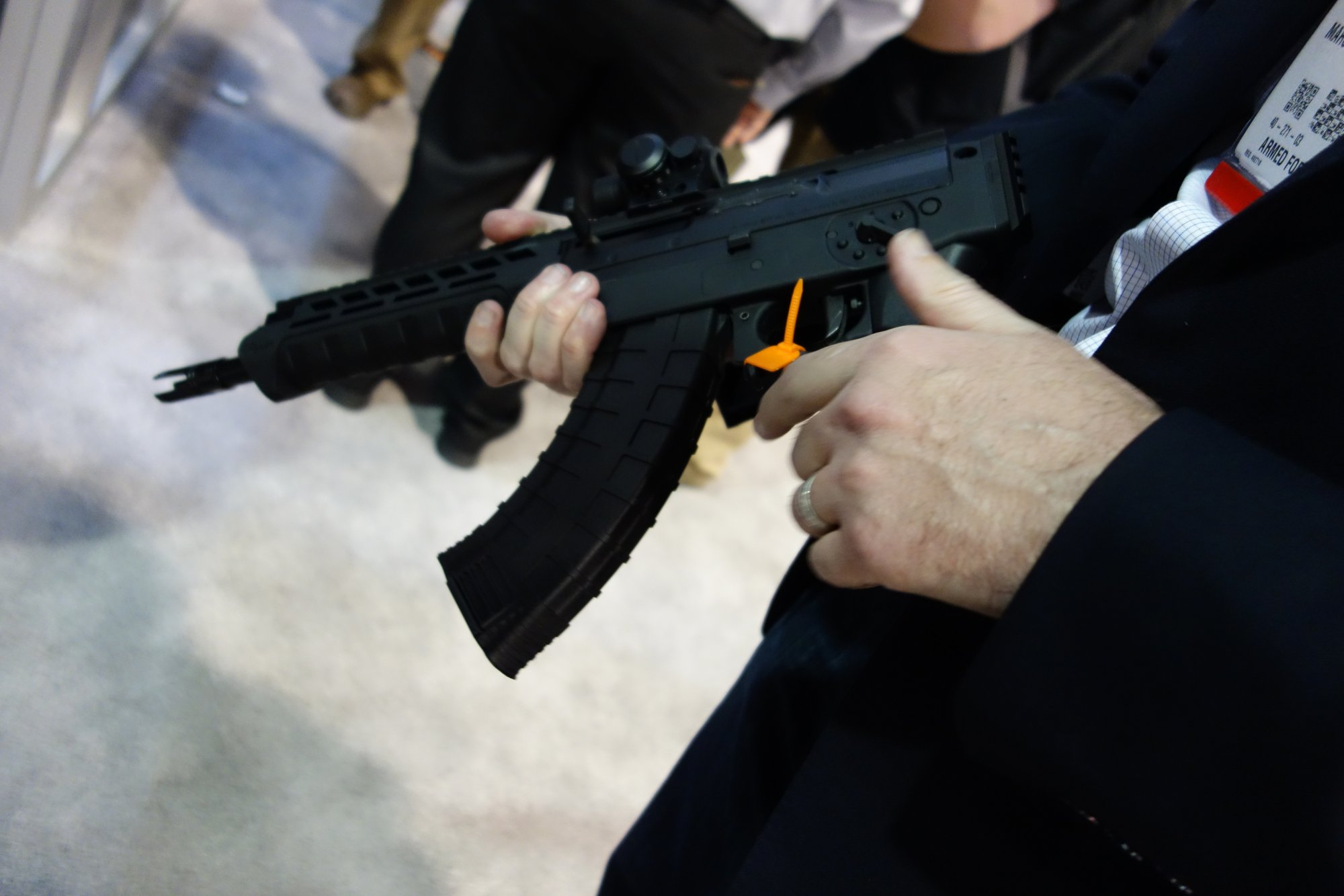 SIG SAUER SIG556xi 7.62x39mm Russian Configuration Semi Auto Only Modular Multi Caliber Combat Tactical Carbine Kalashnikov AK 47 AKM SHOT Show 2014 1 15 14 David Crane DefenseReview.com DR 5 rotated SIG SAUER SIG556xi Modular, Multi Caliber (5.56mm NATO, 300 AAC Blackout/300BLK, 7.62x39mm Russian) Gas Piston/Op Rod Combat/Tactical Rifle/Carbine/SBR with Kalashnikov AK 47/AKM Configuration Capability!