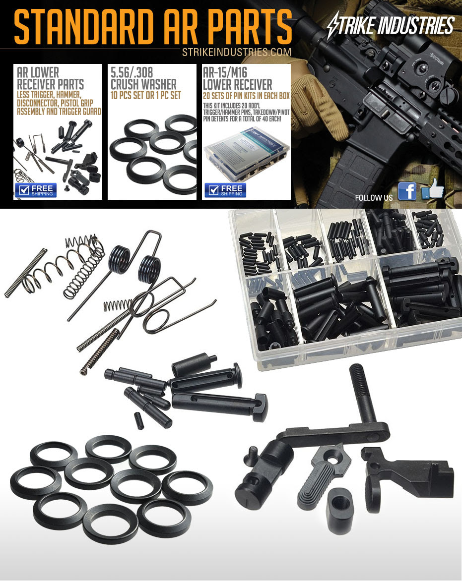 Strike Industries SI Standard AR Parts AR 15 Parts Kits AR 15 Lower Receiver Parts Kit 5.56mm .223 Rem. AR Crush Washer Kit 1 large Strike Industries SI AR 15 Rifle/Carbine/SBR Lower Receiver Parts Kits, PRO Kits (Springs, Pins and Detents) and 5.56mm/7.62mm AR Crush Washer Packs