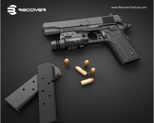 Recover Tactical RT CC3 1911 Grip and Rail Adapter for Tactical 1911 Pistol 3 Recover Tactical RT CC3 1911 Grip and Rail Adapter: Instantly Turns Your Legacy Combat/Tactical 1911 Pistol into a 21st Century Railed Single Action .45 ACP Blaster! (Video!)