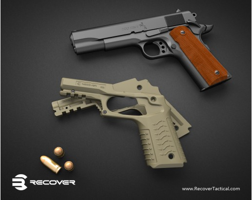 Recover Tactical RT CC3 1911 Grip and Rail Adapter for Tactical 1911 Pistol 4 Recover Tactical RT CC3 1911 Grip and Rail Adapter: Instantly Turns Your Legacy Combat/Tactical 1911 Pistol into a 21st Century Railed Single Action .45 ACP Blaster! (Video!)