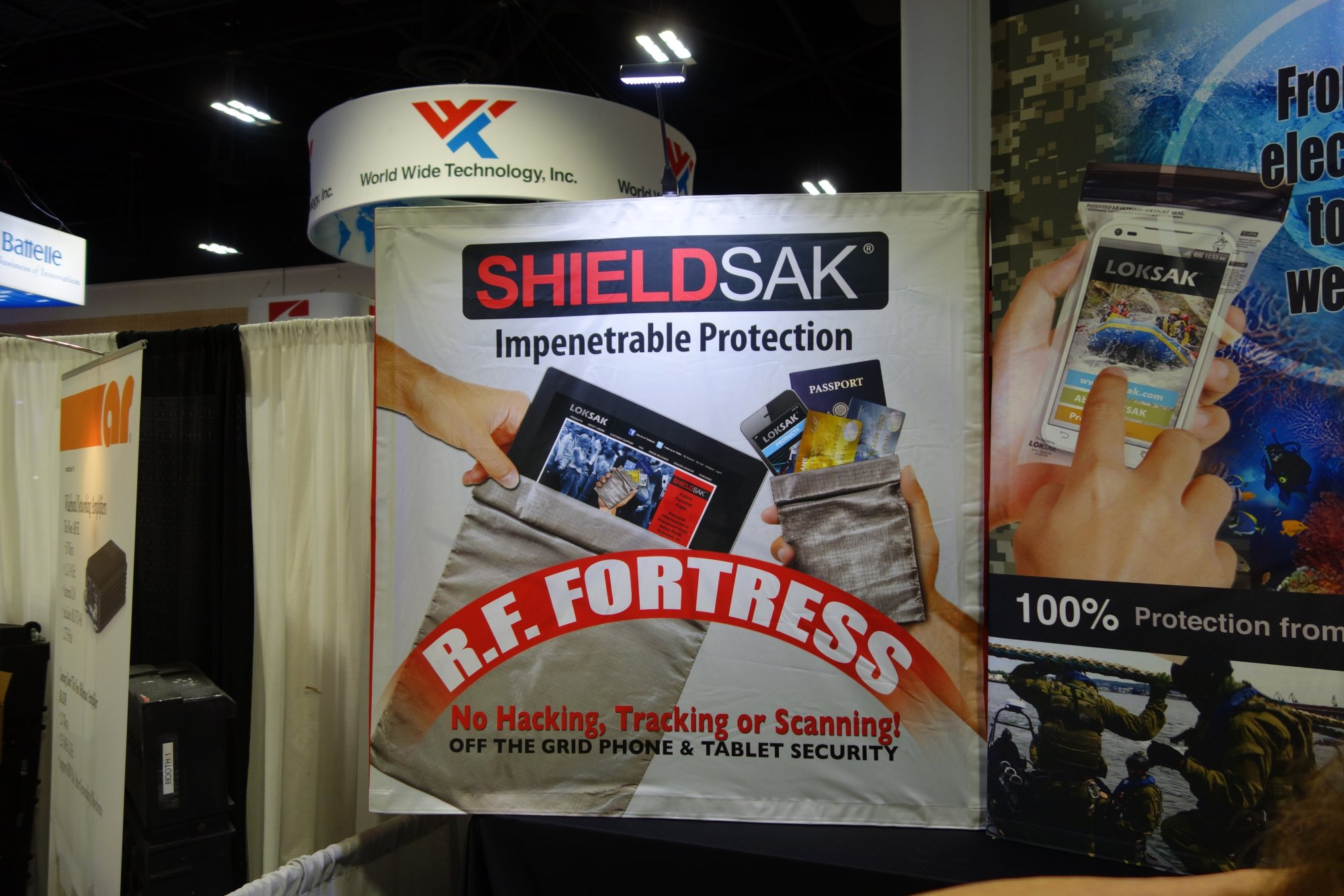 LOKSAK SHIELDSAK Flexible Fabric Faraday Cage Anti RF Protective Bag RF Fortress Radio Frequency Camouflage NDIA SOFIC 2014 David Crane DefenseReview.com DR 1 LOKSAK SHIELDSAK Fabric Faraday Cage/Anti RF Protective Bag Family by LOKSAK: Flexible Fabric RF Fortress Provides Anti Hacking/Anti Tracking Radio Frequency Camouflage