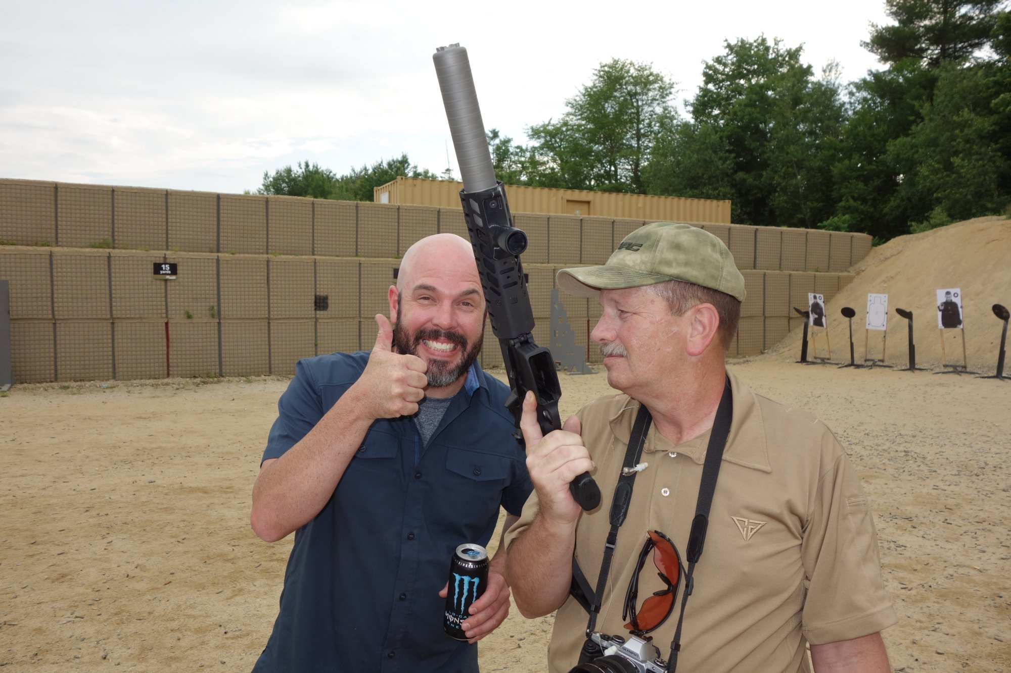 SIG SAUER SIG MCX Multi Caliber AR Assault Rifle Carbine SBR 300 Blackout 300BLK Suppressed Kevin Brittingham Thumbs Up and Smiling SIG SAUER New Media Writers Event David Crane DefenseReview.com DR 1 SIG MCX LVAW (Low Visibility Assault Weapon) Black Mamba Suppressed 300 Blackout (300BLK) Piston AR Assault SBR/PDW (Short Barreled Rifle/Personal Defense Weapon) Fired on Full Auto and Semi Auto with Subsonic and Supersonic Ammo During SIG SAUER New Media Writers Event (Video!)