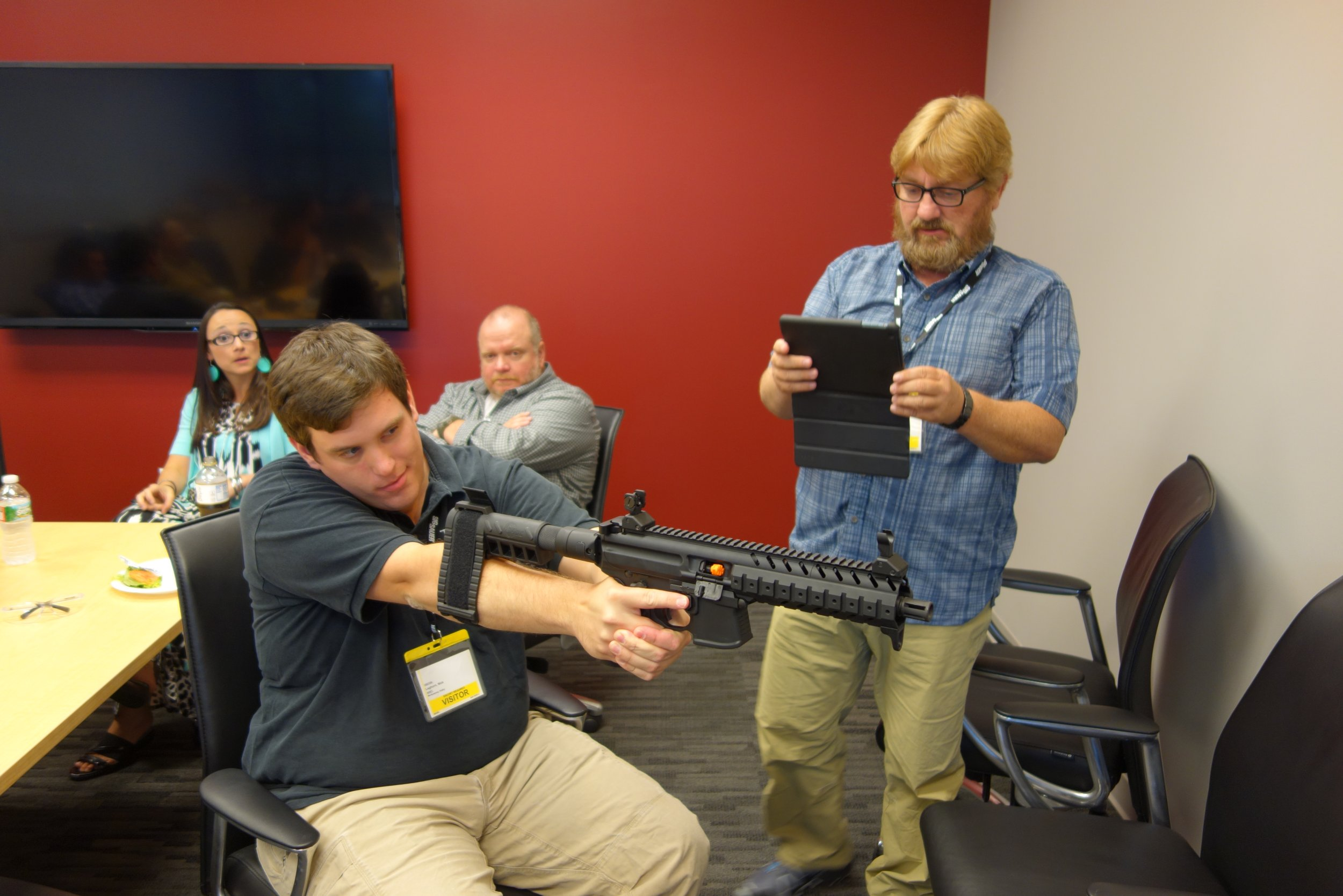 SIG SAUER SIGTac SB15 Pistol Stabilizing Brace on SIG MCX Tactical Piston AR Carbine SBR Nick Leghorn The Truth About Guns TTAG at SIG SAUER Headquarters New Media Writers Event 2014 David Crane DefenseReview.com DR 11 SIG SAUER SIGTac SB15 Pistol Stabilizing Brace for One Handed Firing of Tactical AR 15 Pistols