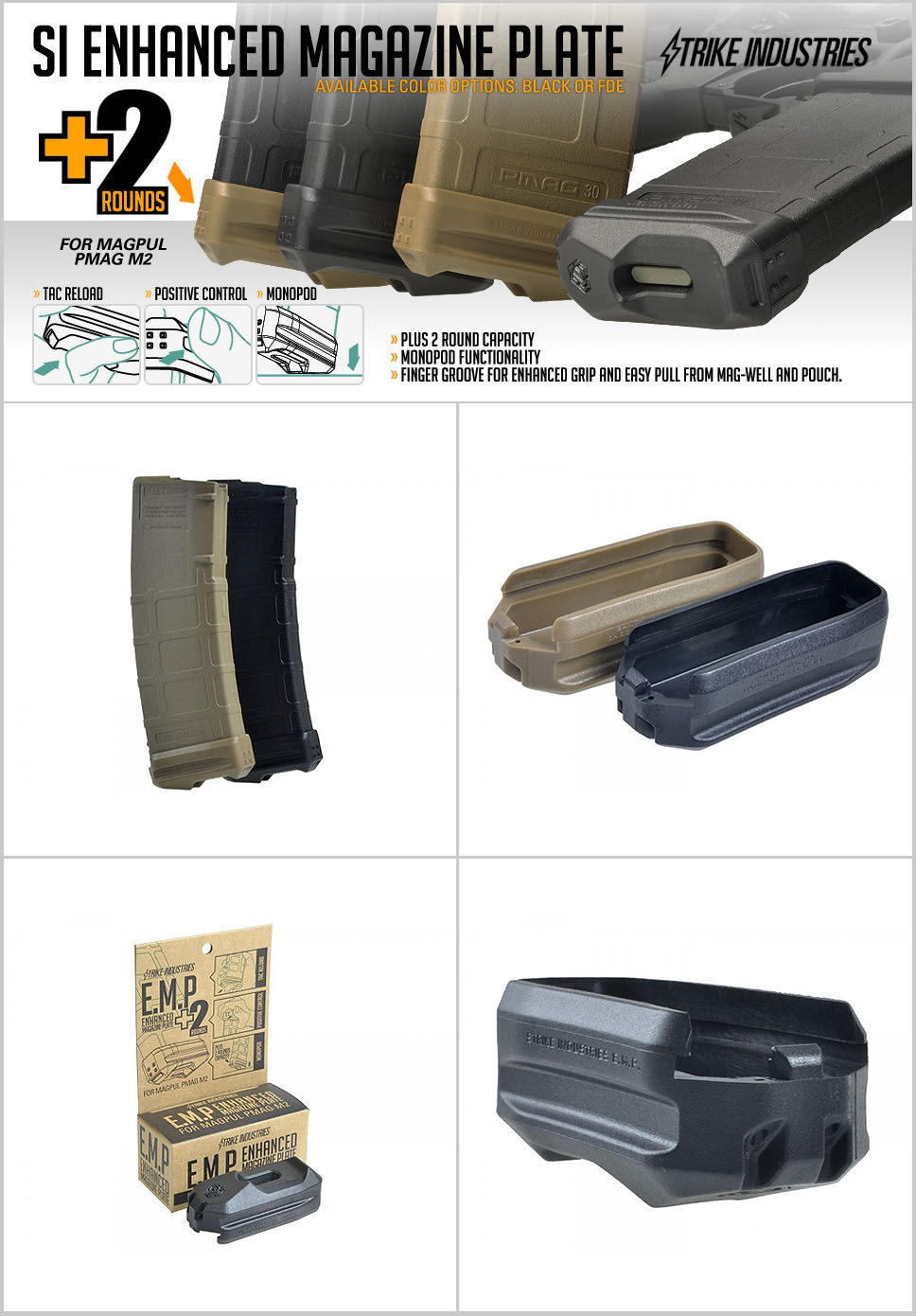 Strike Industries SI Ehanced Magazine Plate EMP Plus 2 Round Capacity for MagPul PMAG M2 30 Round AR Rifle Magazine DefenseReview.com DR 1 Strike Industries SI Enhanced Magazine Plate (EMP) +2 Round Magazine Extension for MagPul PMAG 30 Polymer AR 15/M4/M4A1 Carbine/Rifle Magazine