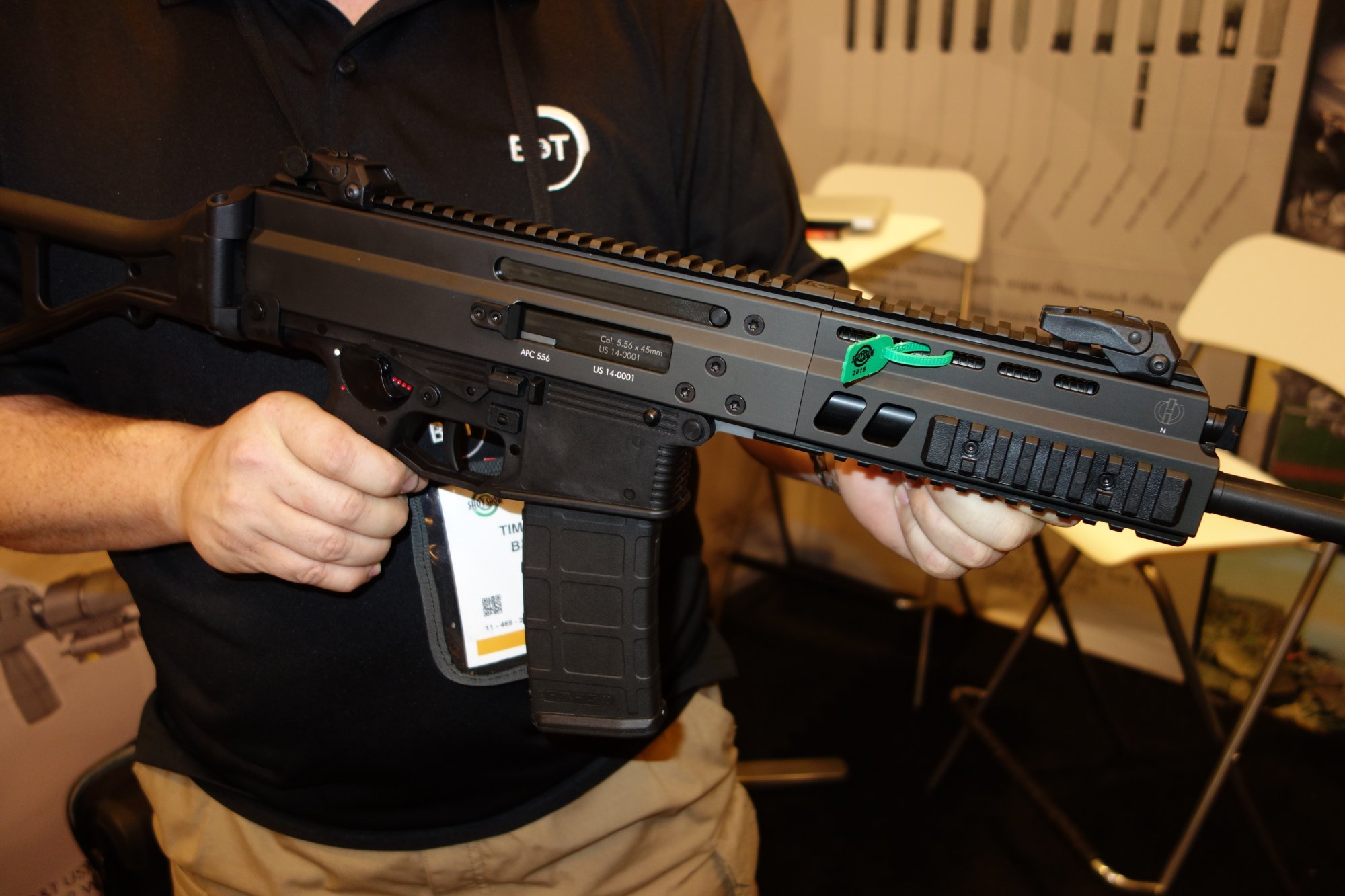 Brugger  Thomet BT APC556 5.56mm NATO Select Fire Assault Rifle Carbine SBR and Semi Auto Tactical Rifle Carbine SHOT Show 2015 David Crane DefenseReview.com DR 2 Brugger & Thomet B&T AP556 Select Fire and Semi Auto Only Tactical Rifle/Carbine/SBRs: More Gas Piston/Op Rod Rifle Goodness with Ambi Controls! (Video!)