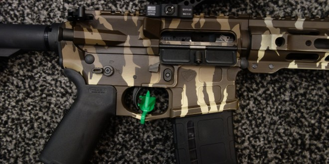 American Defense Manufacturing ADM UIC (Universal Improved Carbine) MOD 3 5.56mm NATO/300 Blackout (300BLK) Semi-Auto-Only Tactical AR Carbine/SBR with Adjustable Gas Block and Ambi Controls: Customized with Modern Outfitters TigerStripe and Crye MultiCam Combat Camouflage Coatings/Finishes! (Video!)