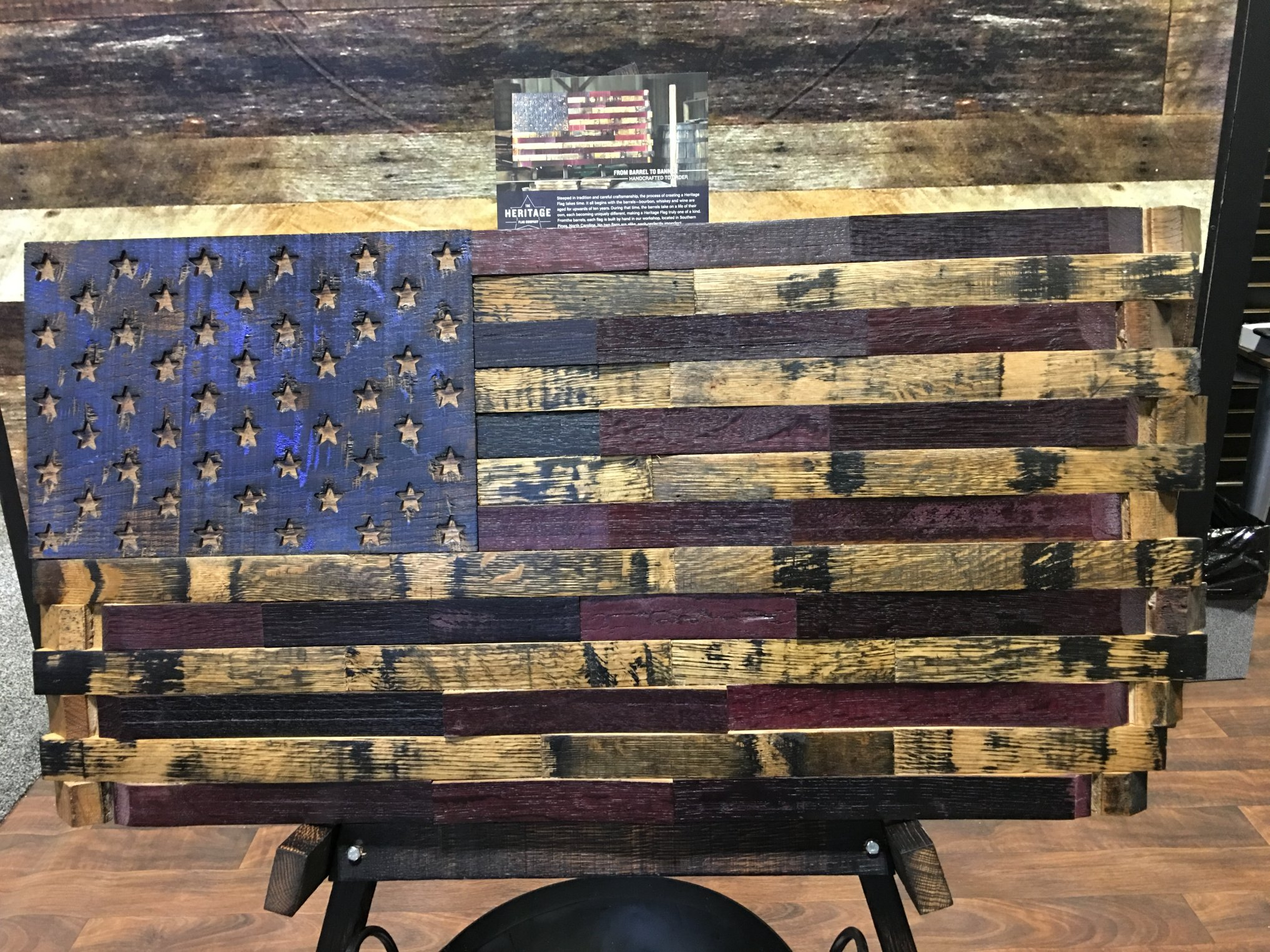 The Heritage Flag Company Bourbon Whiskey Barrel Wood American Flags
