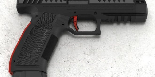 Laugo Arms Alien 9mm Combat/Tactical Pistol: Delayed-Blowback Gas Piston and Slide Operate ABOVE the (Fixed) Barrel, Providing Ultra-Low Bore Axis!