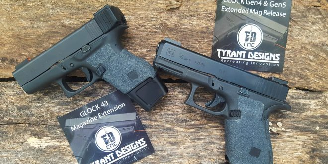 Tyrant Designs Glock 43 +3 Mag (Magazine) Extension and Gen4 and Gen5 Glock Extended Magazine Release Button: More Rounds and Faster Reloads for Concealed Carry (CCW)!