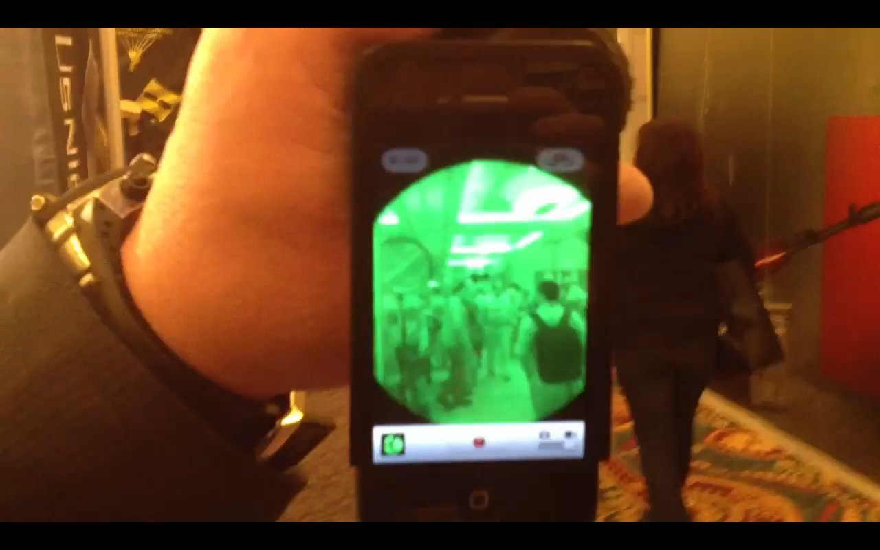 US Night Vision (USNV) iTelligent iPhone 4/4S / AN/PVS-14 Night Vision/I2 Monocular Adapter at SHOT Show 2012: Shoot Clandestine I2 Combat Video, Then Email or SMS Text It! (Video!)