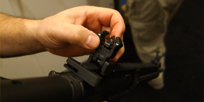 Diamondhead Polymer Diamond Flip-Up Front and Rear AR-15 Rifle/Carbine/SBR Sights with NiteBrite Photoluminescent Inserts for Night Fighting (Video!)