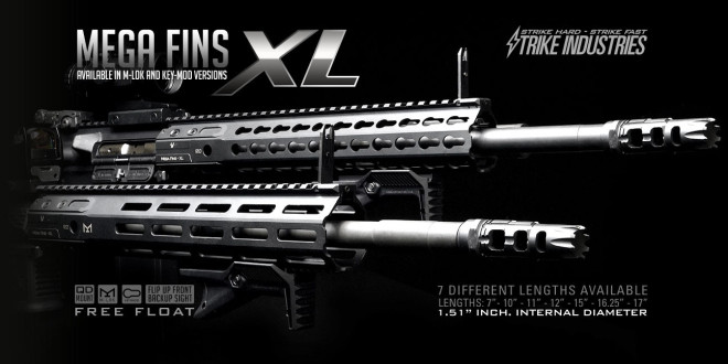 Strike Industries SI Mega Fins XL KeyMod and M-LOK Rail Systems with SI LINK Rail Sections with Dual-Interface Design for Tactical AR-15 Rifle/Carbine/SBR's!